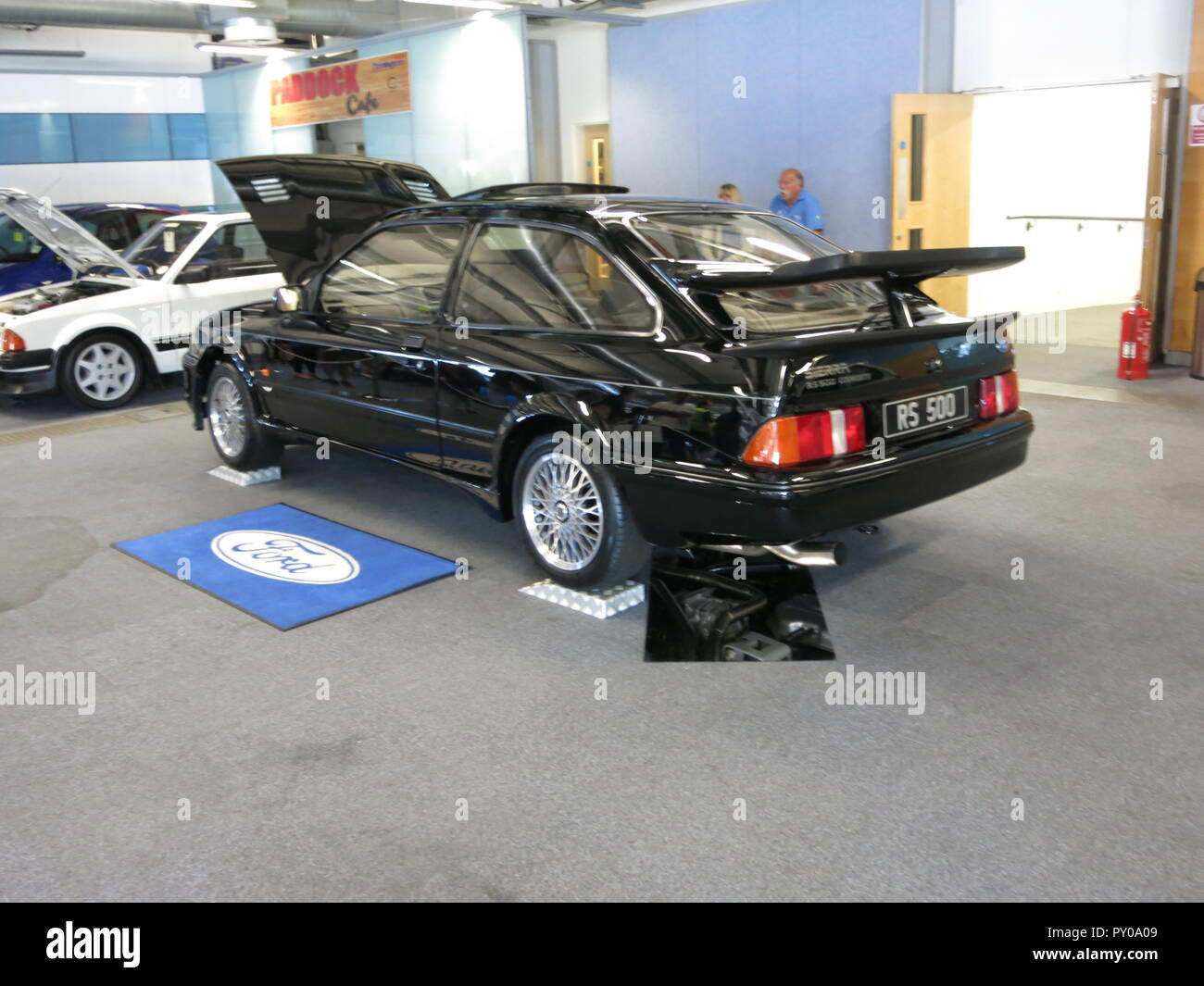 Ford Sierra RS500 Cosworth 1987 limited edition homologation evolution shown at donnington park race circuit at the RS owners club national day 2017 original oem factory standard concours condition mk1 1st generation - Stock Image
