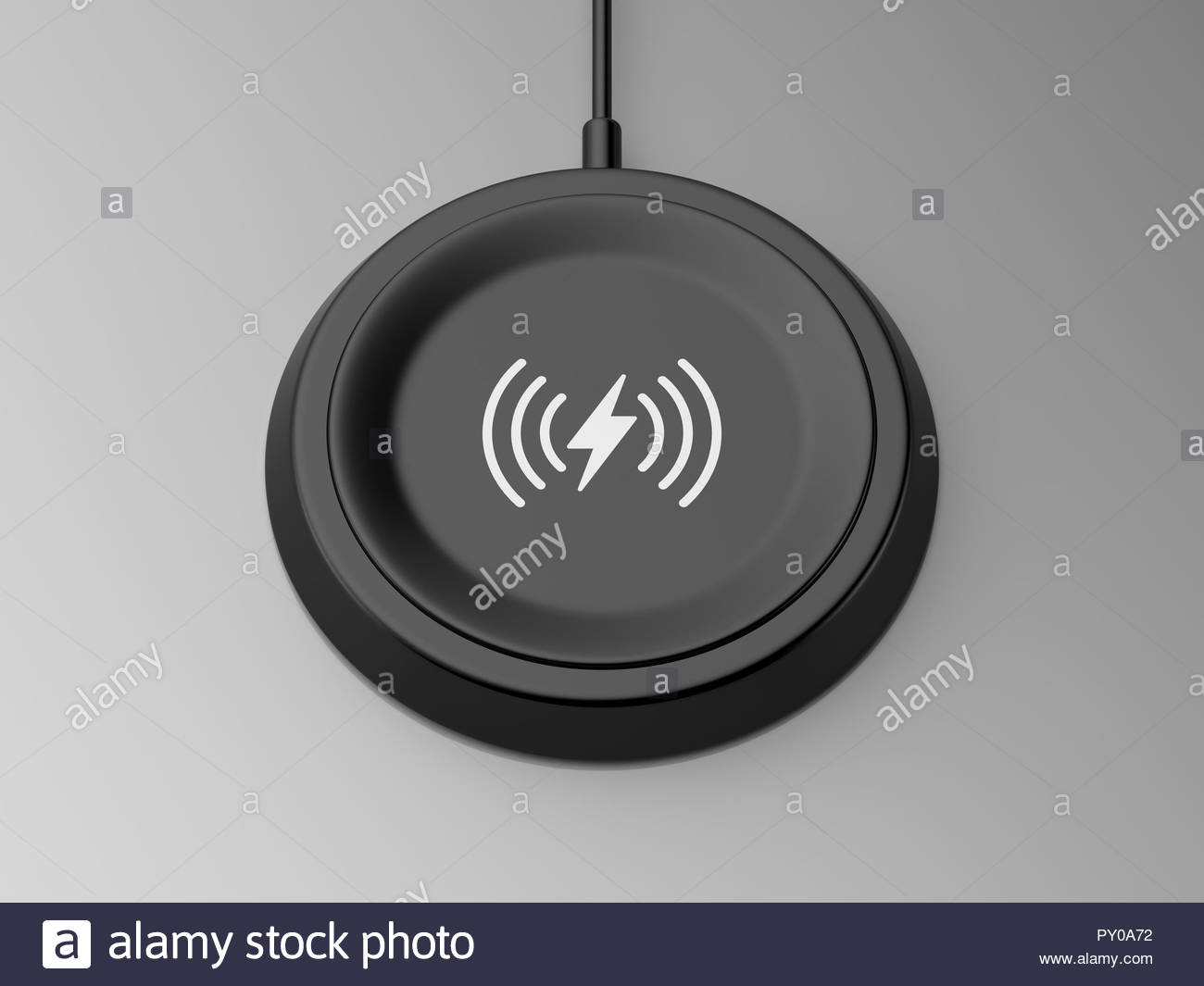 3d rendered angled view of a black wireless charger with a bevelled edge and recessed base on a grey background. - Stock Image