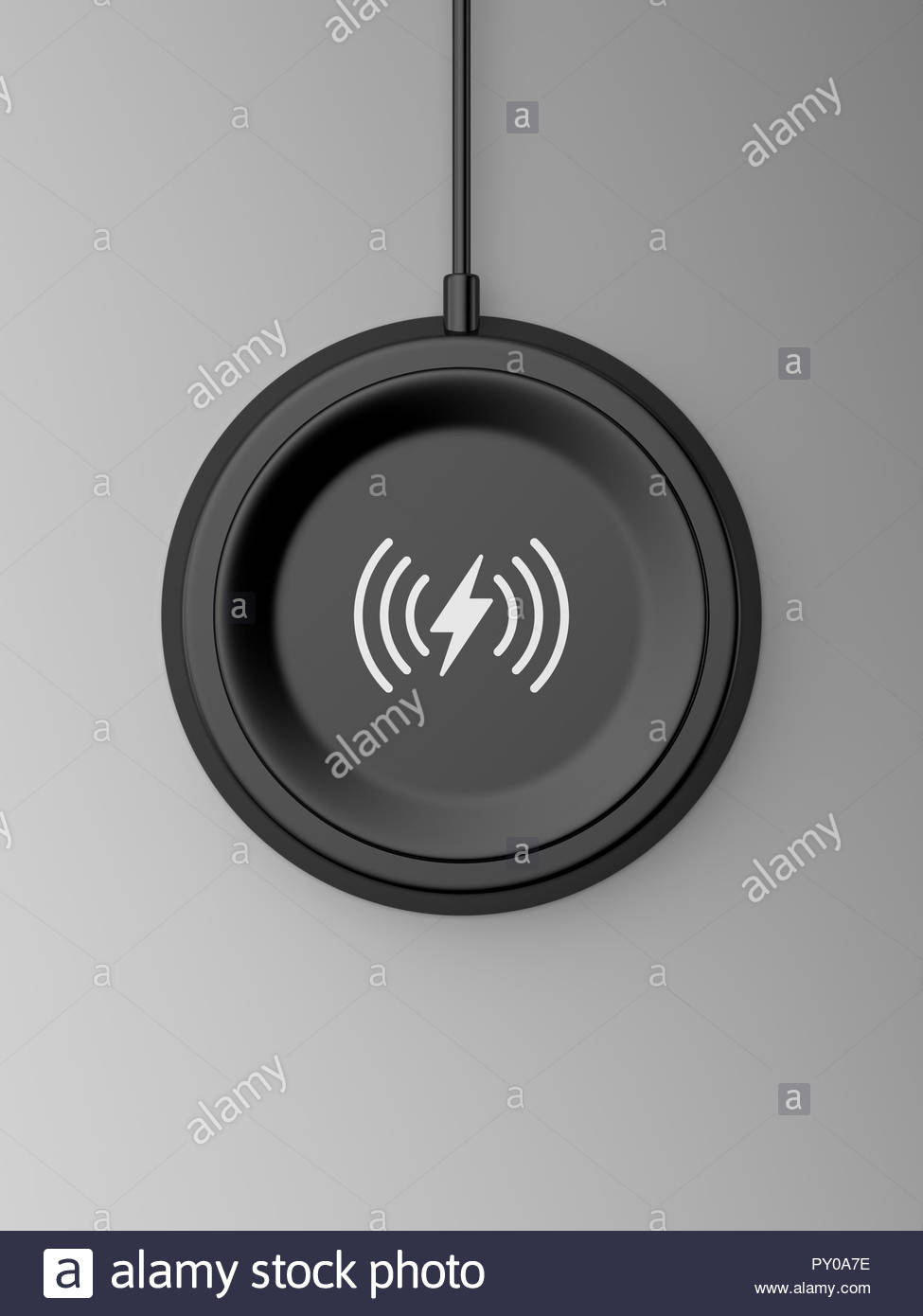 3d rendered top view of a black wireless charger with a bevelled edge and recessed base on a grey background. - Stock Image