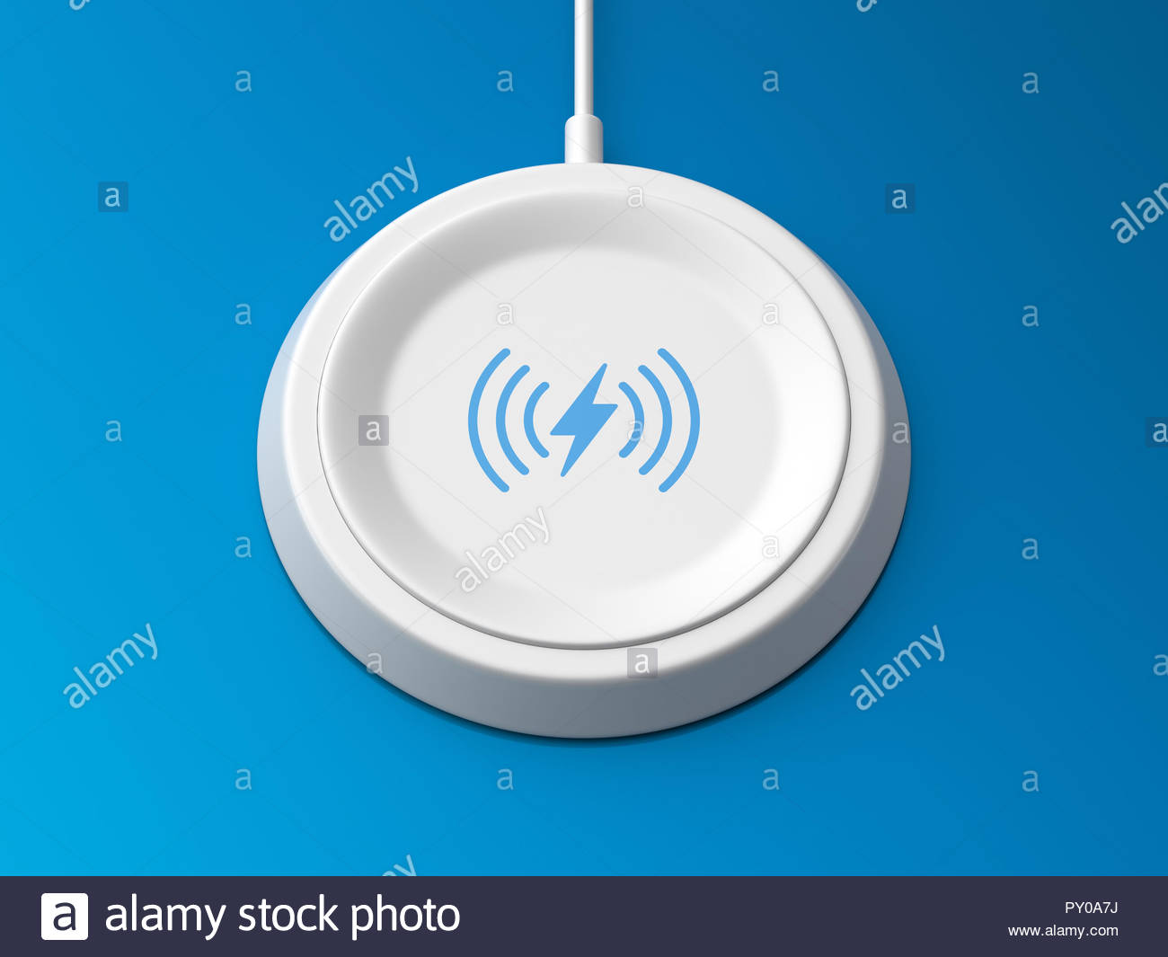 3d rendered angled view of a white wireless charger with a bevelled edge and recessed base on a blue background. - Stock Image