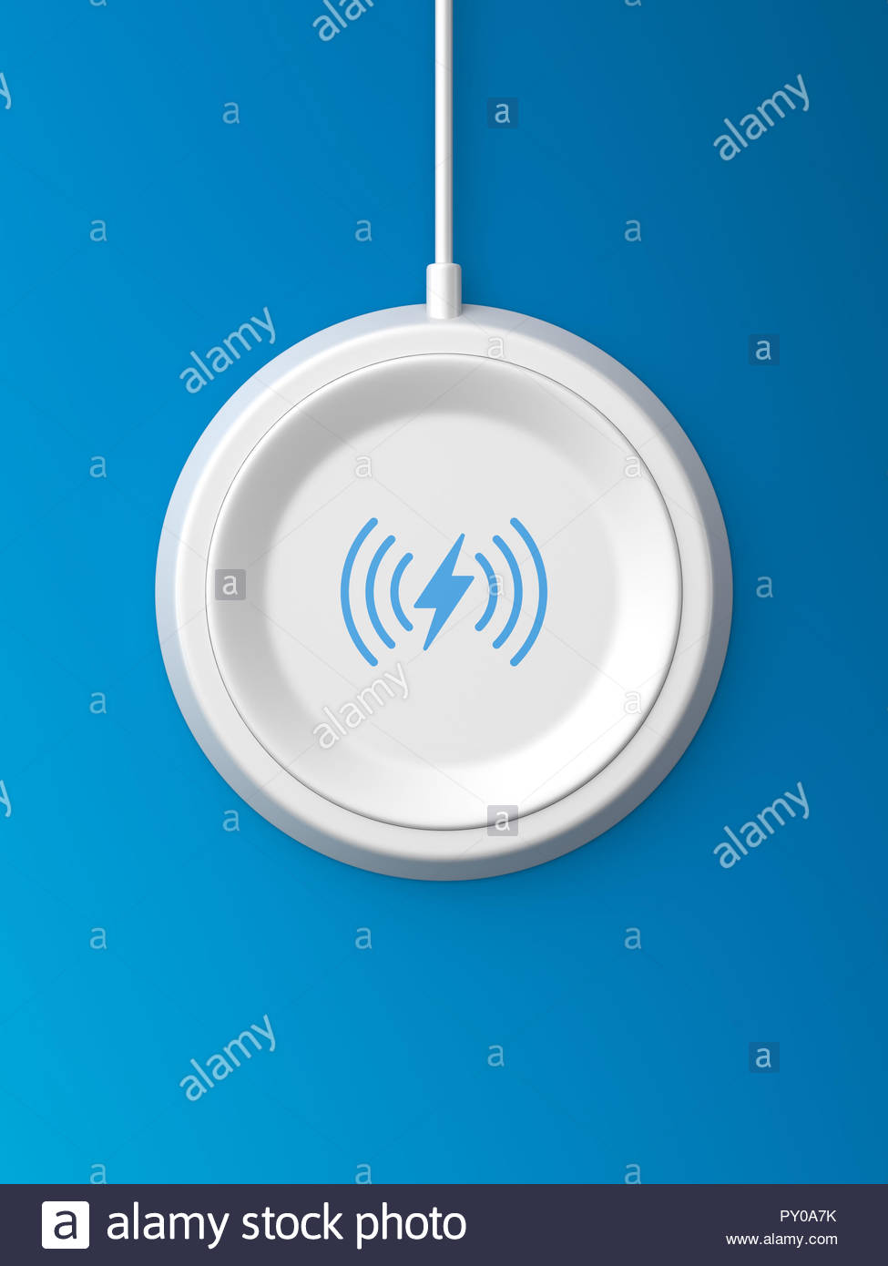 3d rendered top view of a white wireless charger with a bevelled edge and recessed base on a blue background. - Stock Image