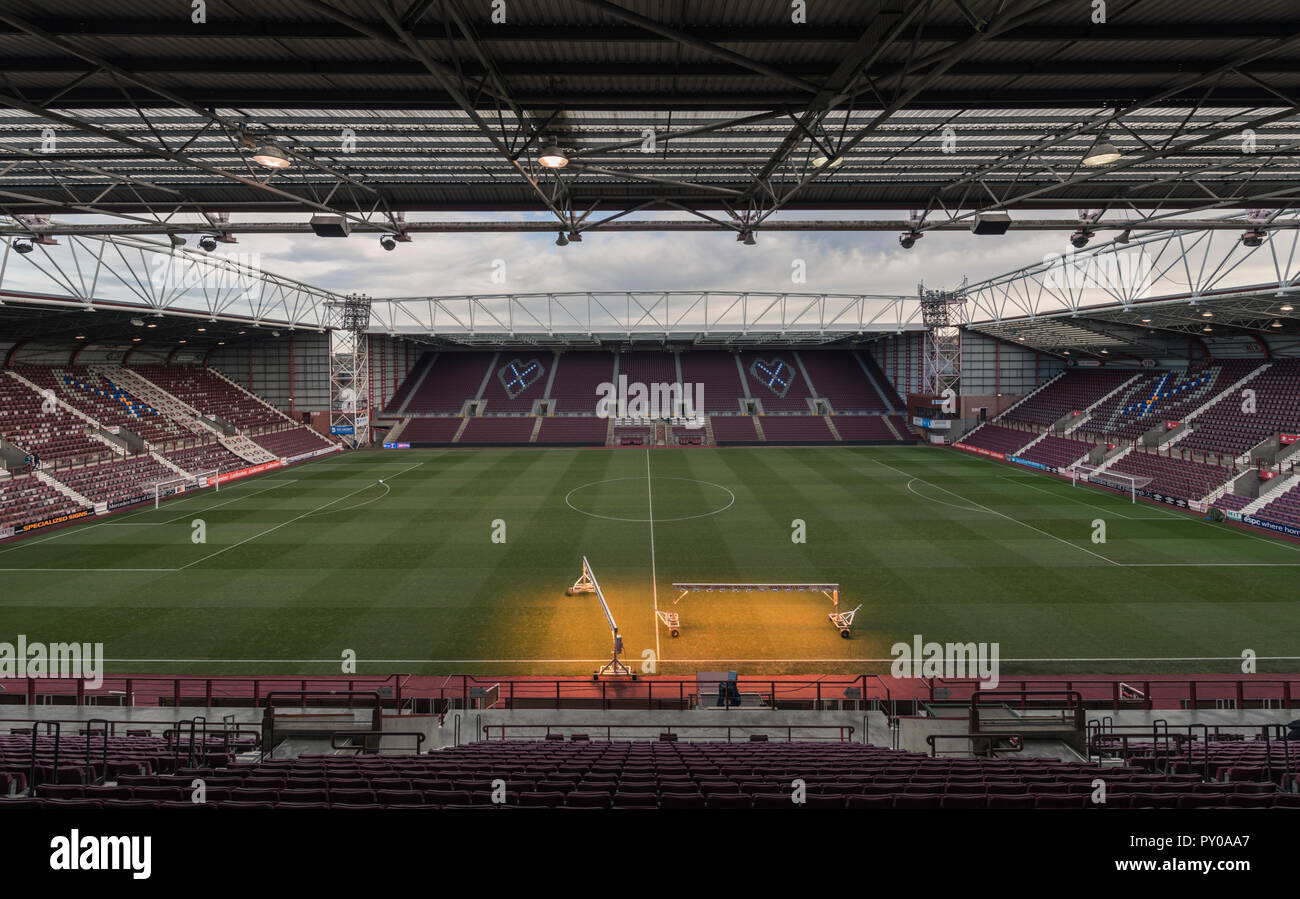 The new main stand, replacing the Archibald Leitch stand at Tynecastle completes the upgrading and refurbishment of Hearts football ground, Edinburgh - Stock Image