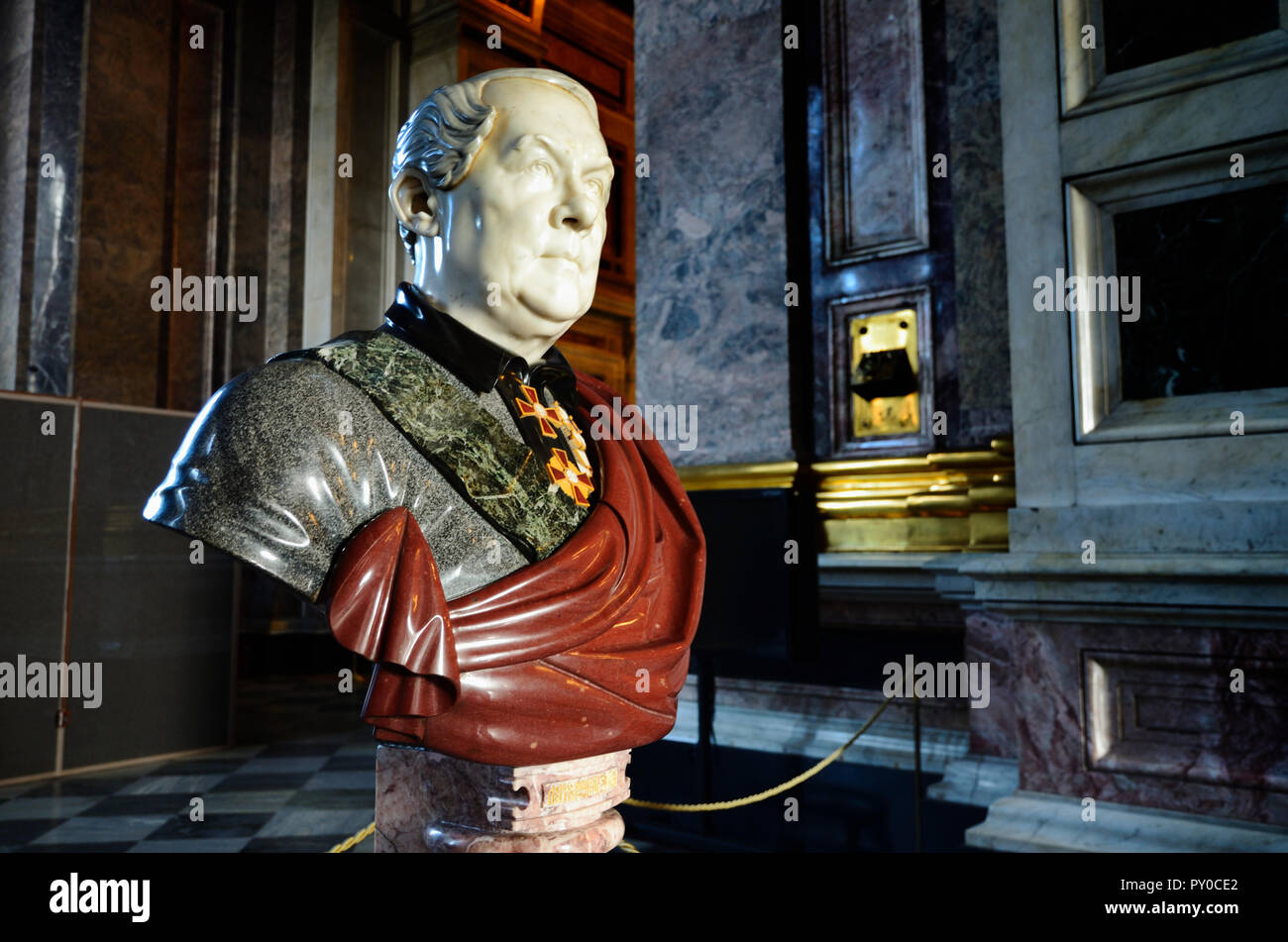 Sculpted bust of Auguste de Montferrand, a French Classicism architect who worked primarily in Russia. His two best known works are the Saint Isaac's  - Stock Image