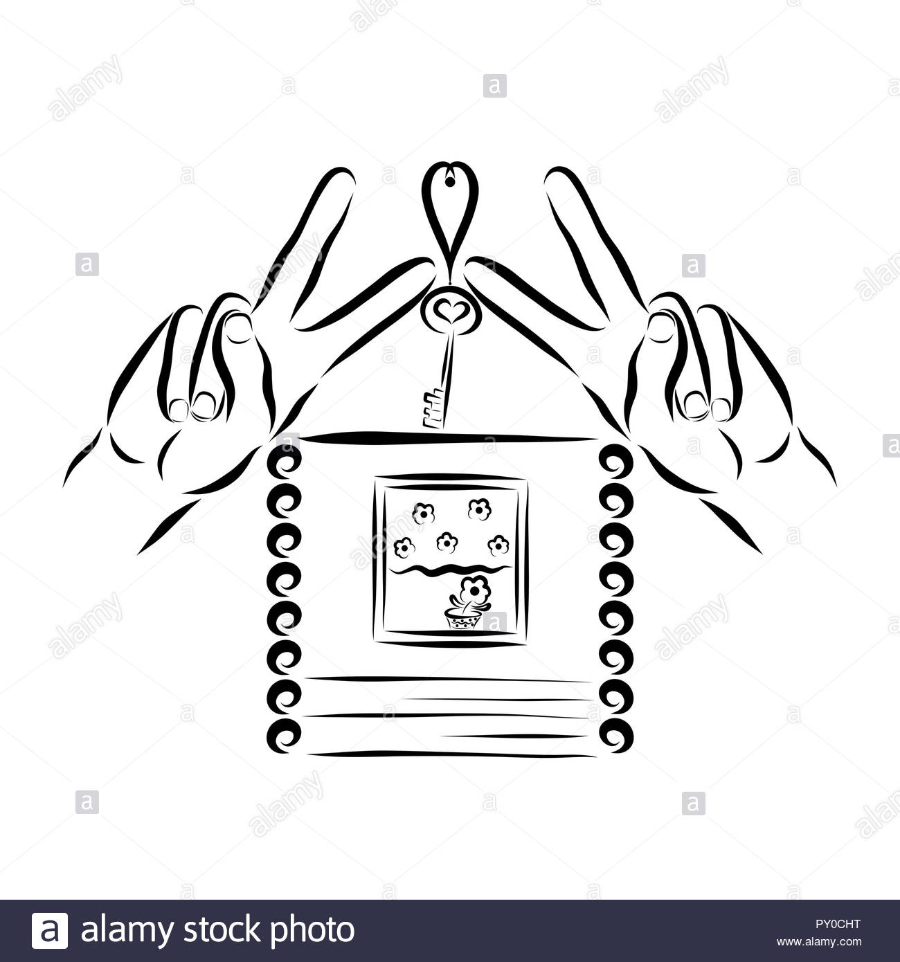 Small cozy house with a flower, hands showing victory sign, and a key with a heart - Stock Image