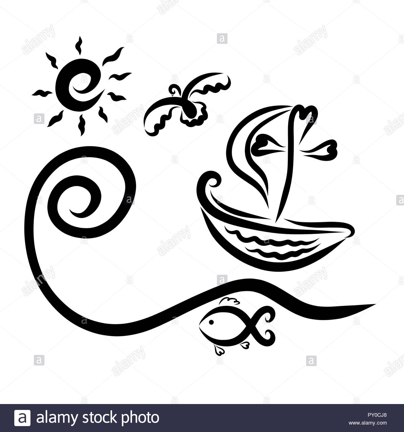 Small ship with a cross and sail, rising wave, bird, fish and sun - Stock Image