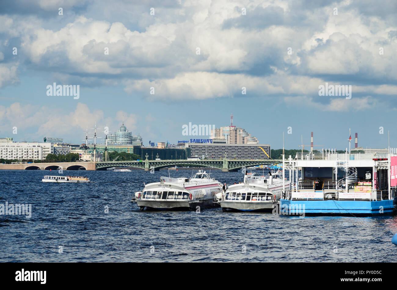 Neva River. Saint Petersburg, Northwestern, Russia, Russian Federation - Stock Image