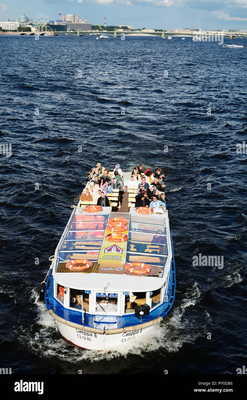 Boat for touristic tours, Neva River. Saint Petersburg, Northwestern, Russia, Russian Federation - Stock Image