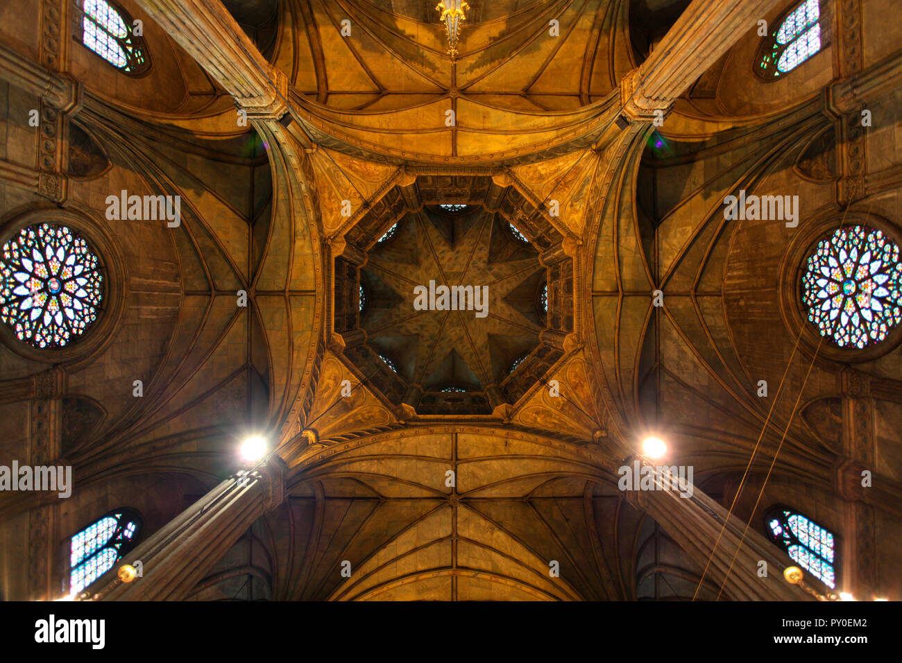 Interior of San Sebastian Church with coping and stained glass windows, only all-steel church in Asia, Quiapo, Manila, Philippines - Stock Image