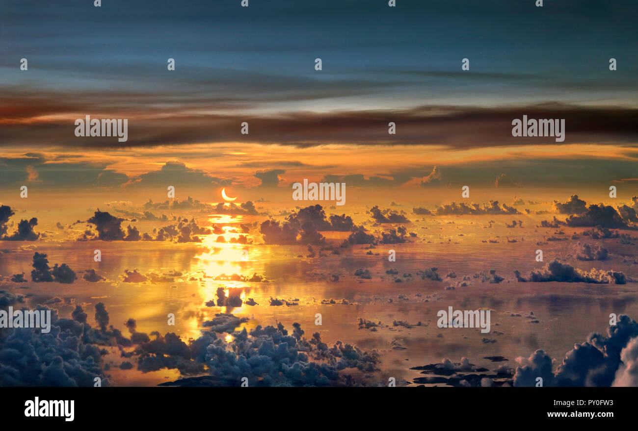 Solar Eclipse over South China Sea in May 2012, South China Sea, Palawan, Philippines - Stock Image