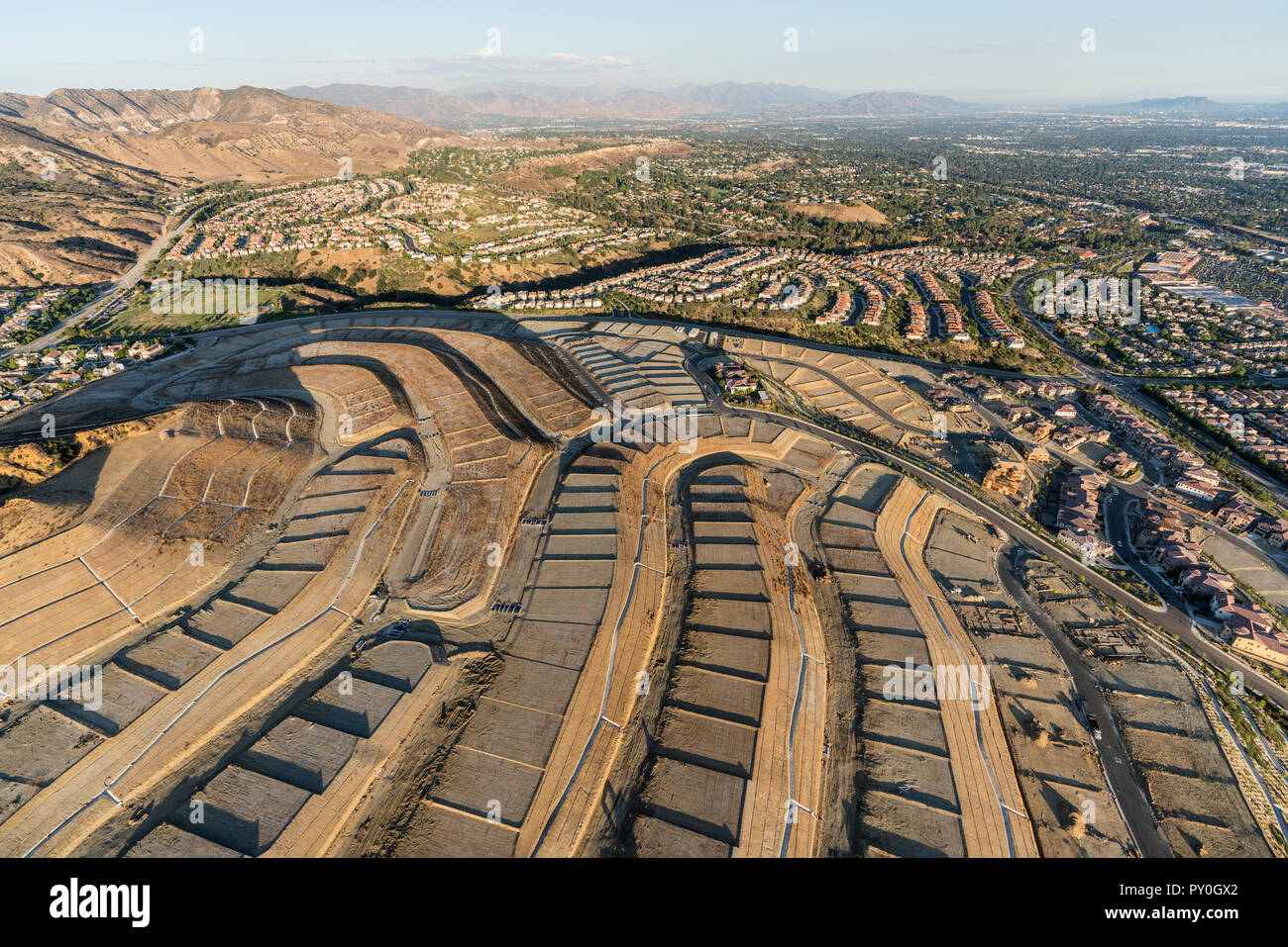 Aerial view of new neighborhood construction grading in the Porter Ranch community of Los Angeles, California. - Stock Image