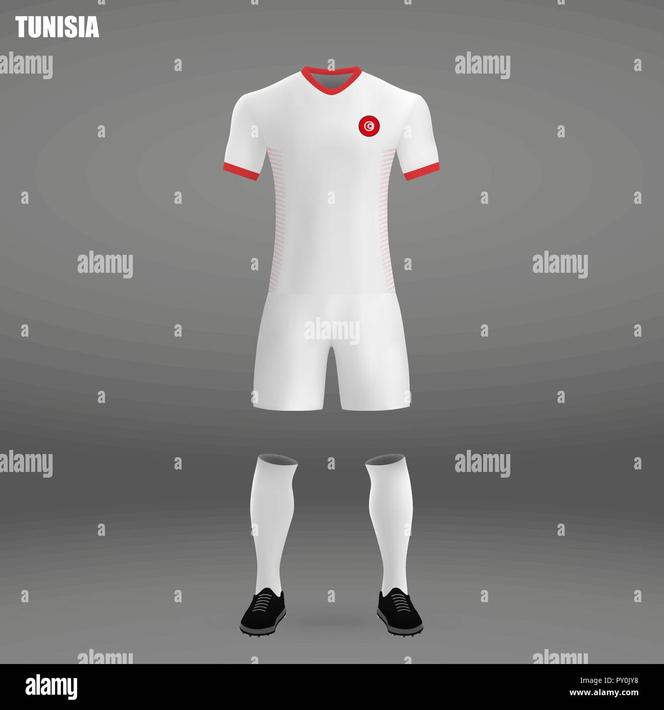 football kit of tunisia 2018 t shirt template for soccer jersey