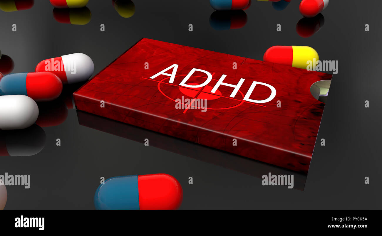 3d render. Medicine box for ADHD - Stock Image