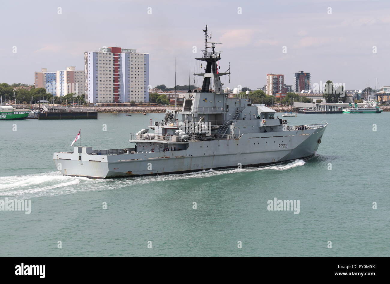 The Royal Navy off-shore patrol vessel HMS Mersey arriving at her home port of Portsmouth, UK on 24th July 2018. - Stock Image