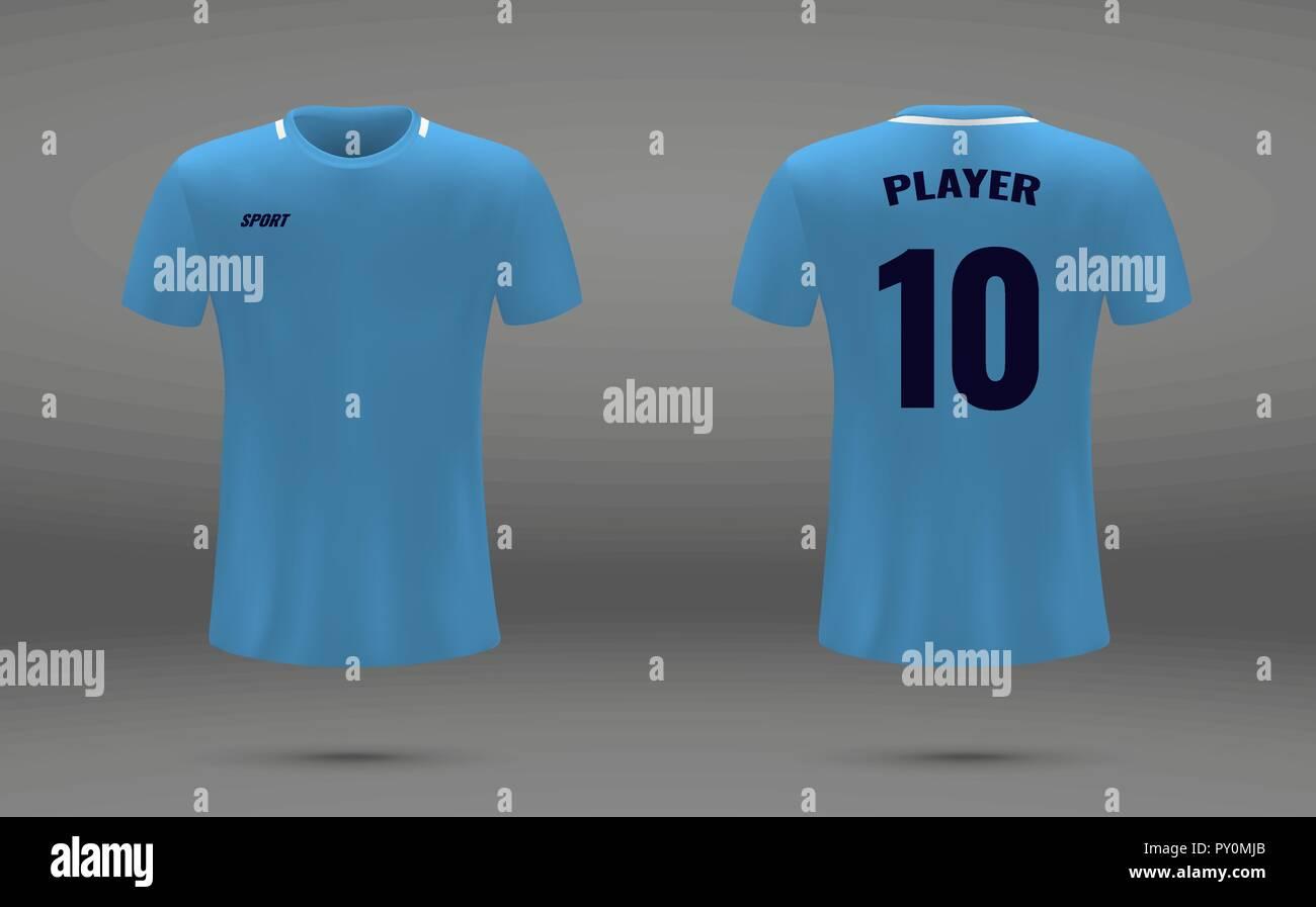 realistic soccer jersey t shirt of manchester city uniform