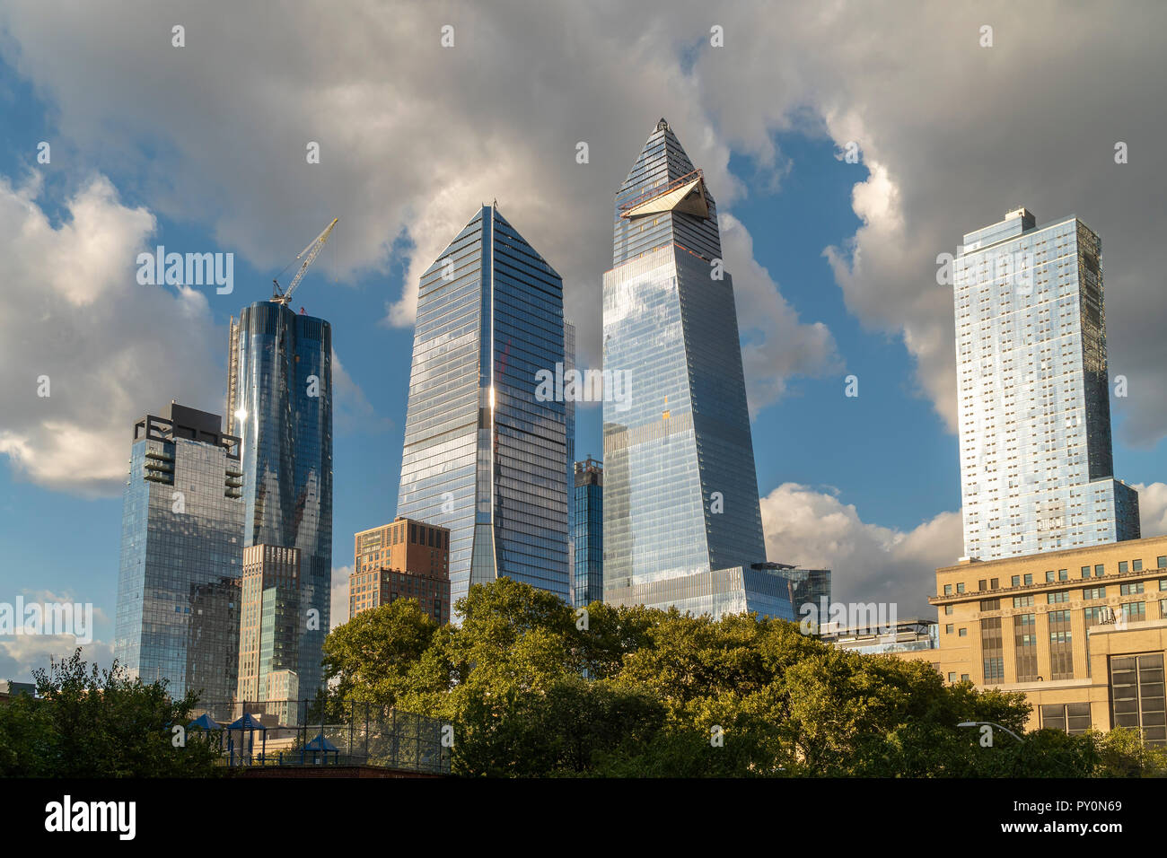 10 Hudson Yards, center left, 30 Hudson Yards, center right, and other development around Hudson Yards in New York on Tuesday, October 17, 2018. (© Richard B. Levine) Stock Photo
