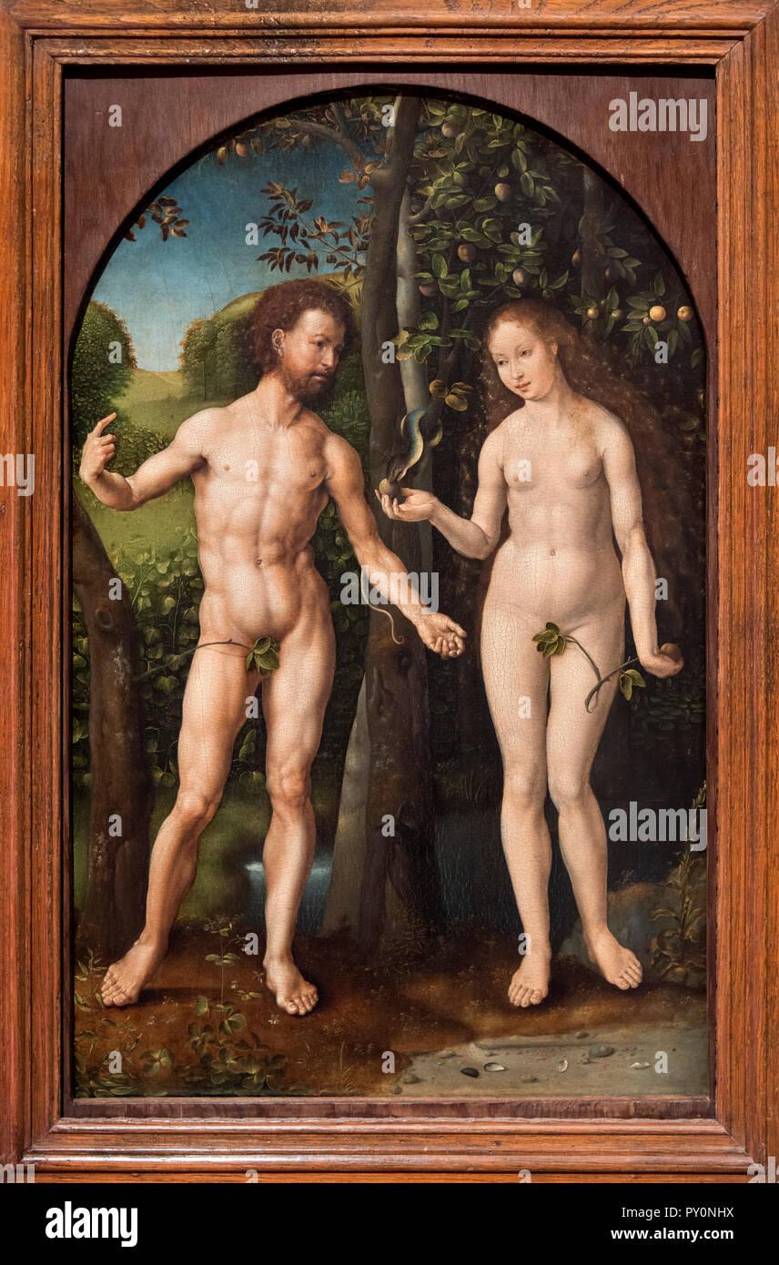 Adam and Eve by Jan Gossaert (1478-1532), c.1507/8 - Stock Image