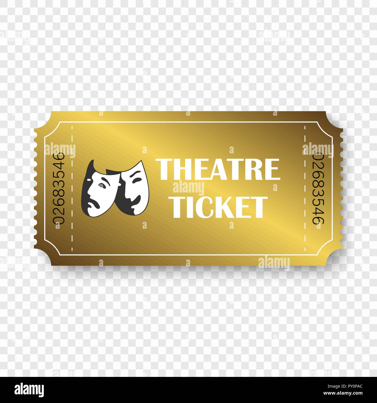 theatre ticket isolated on transparent background template for