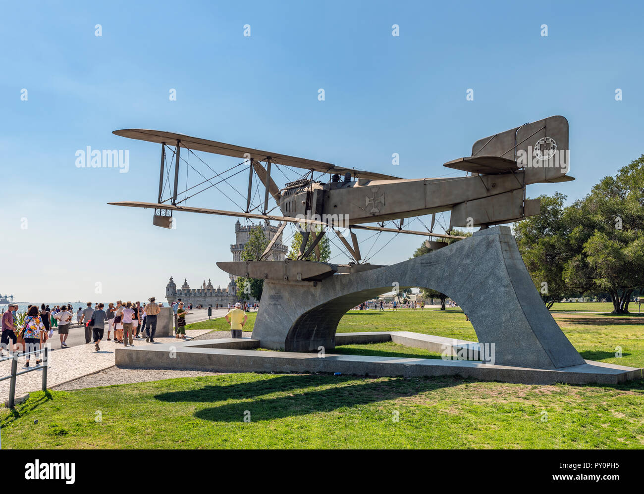 commemorative statue in rememberance of the first south atlantic crossing by Gago Coutinho and Sacadura Cabral in a Fairey III-D MkII seaplane in 1922 - Stock Image
