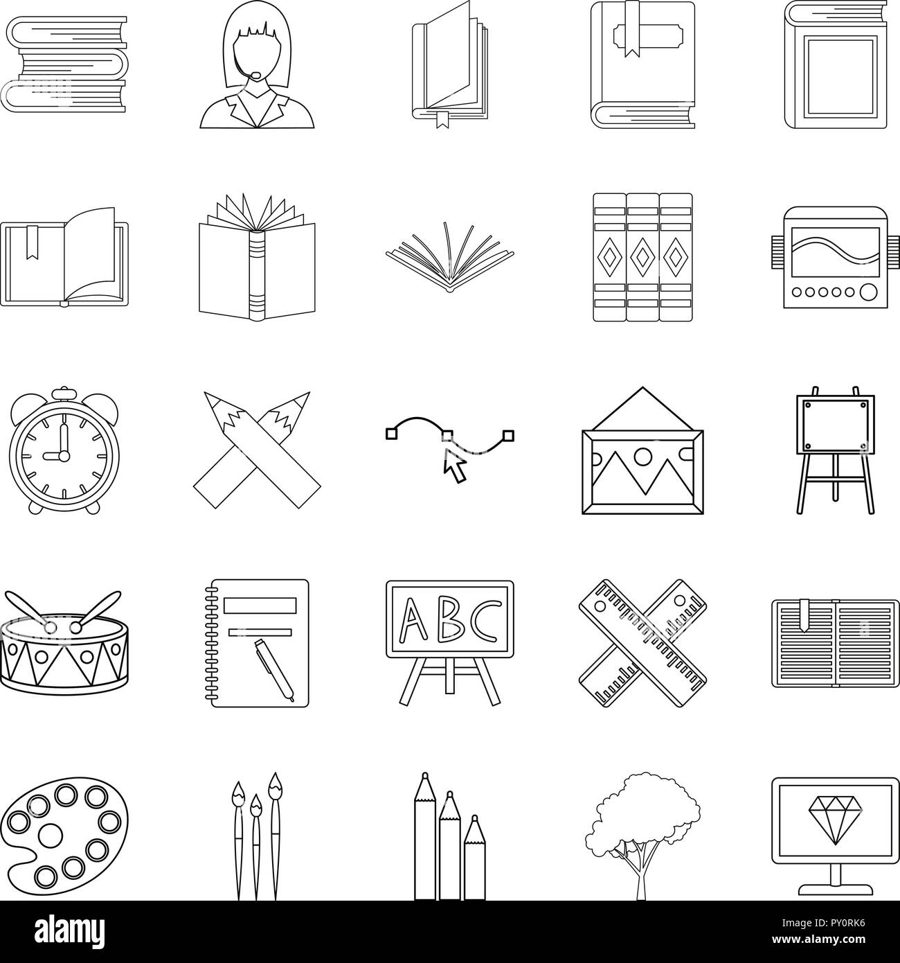 Effective learning icons set, outline style - Stock Image