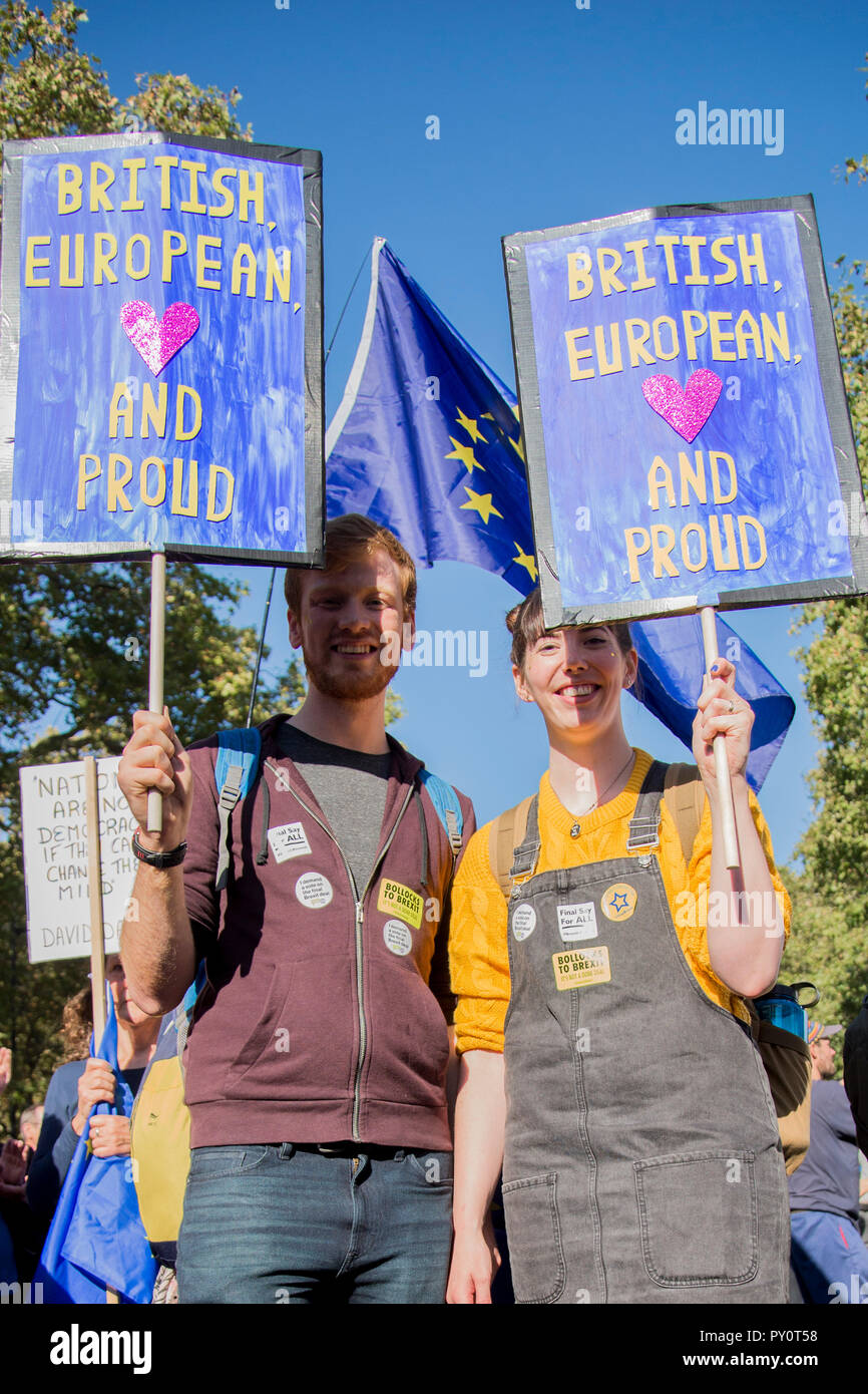 London 20th October 2018 - 700,000 people attend a march to demand a final vote on the Brexit deal. - Stock Image