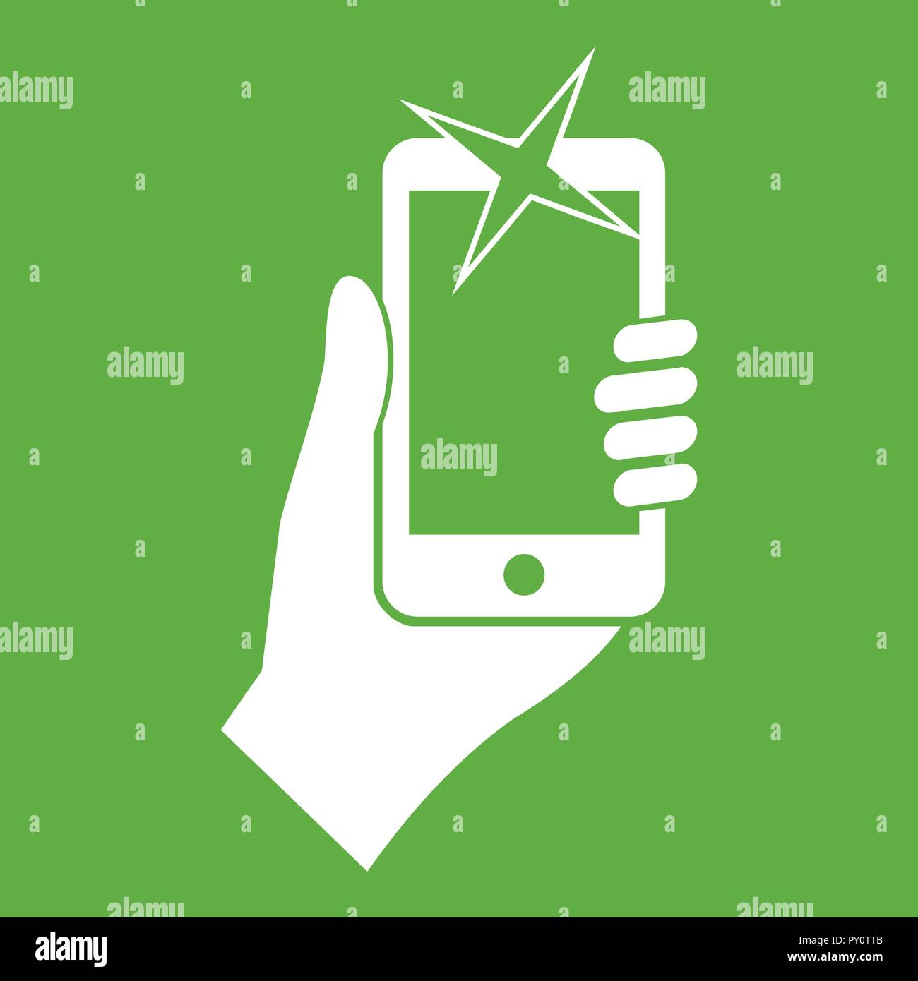 Hand photographed on mobile phone icon green - Stock Vector
