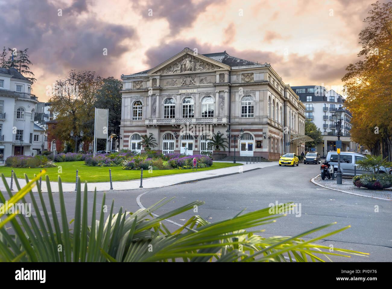 Famous theater at Goetheplatz square in Baden-Baden, Germany - Stock Image