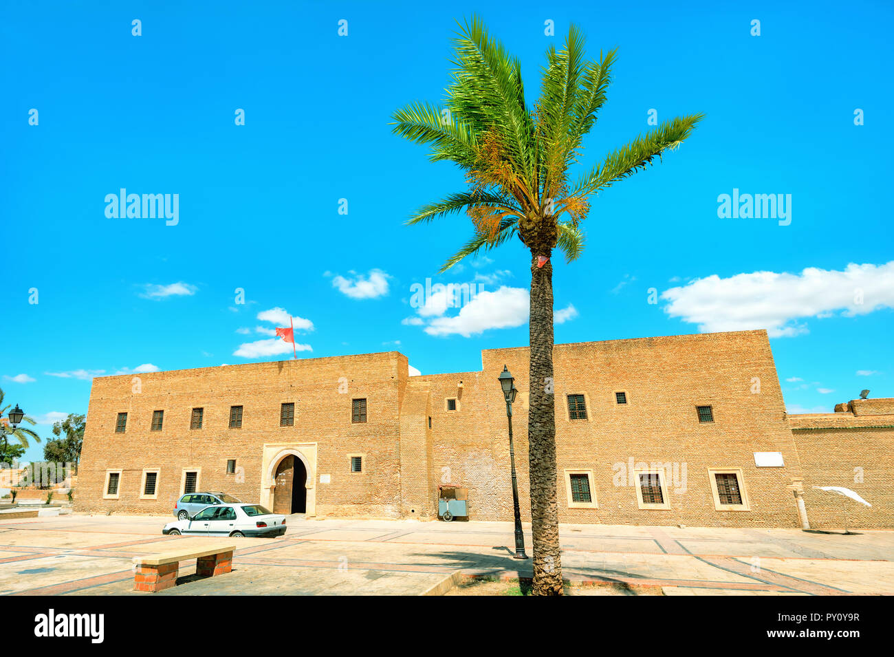 Facade of Barbier Mosque (Sidi Sahab Mausoleum) in Kairouan. Tunisia, North Africa - Stock Image