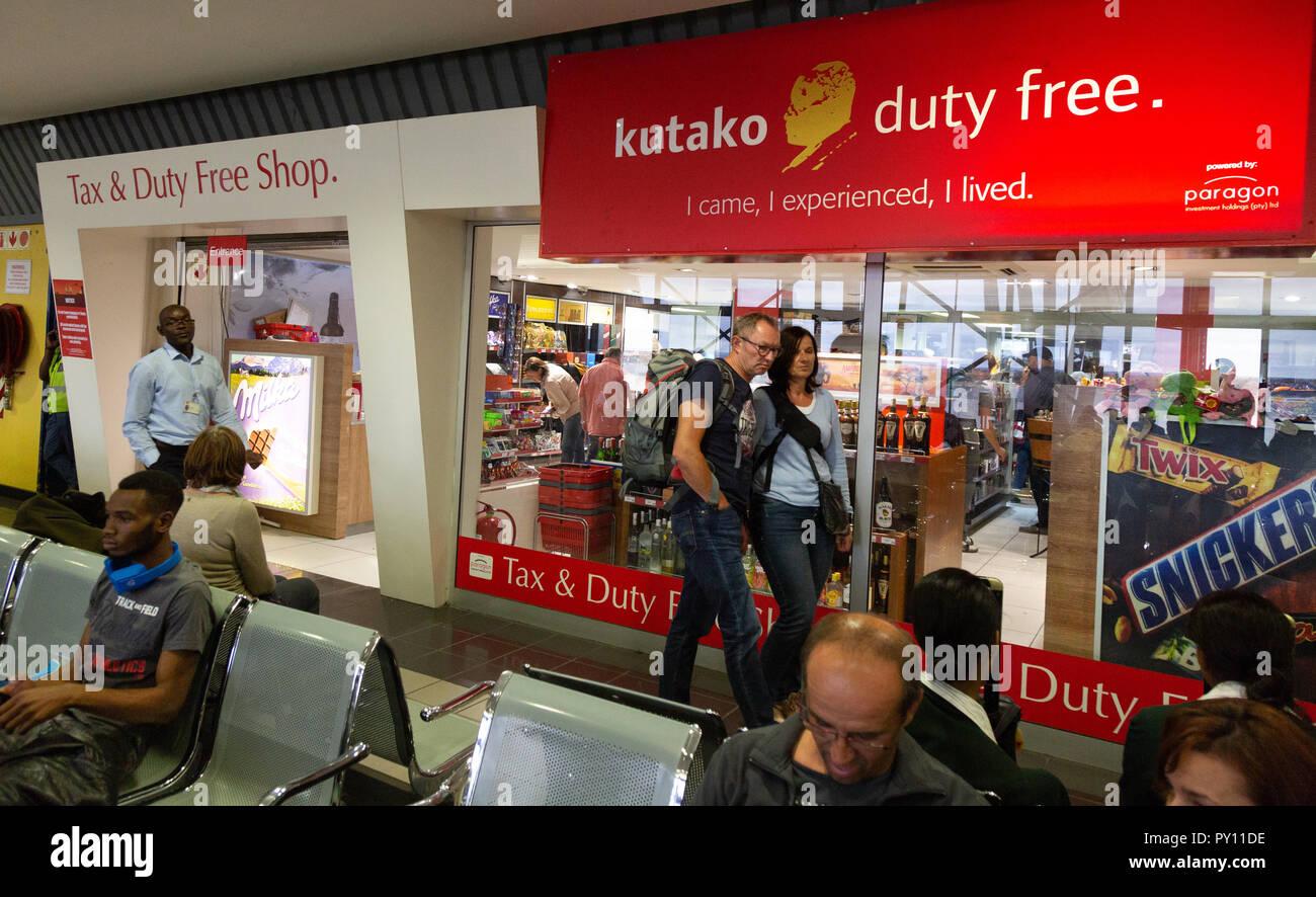 Duty Free shop, departures, Hosea Kutako International Airport, Windhoek, Namibia Africa - Stock Image