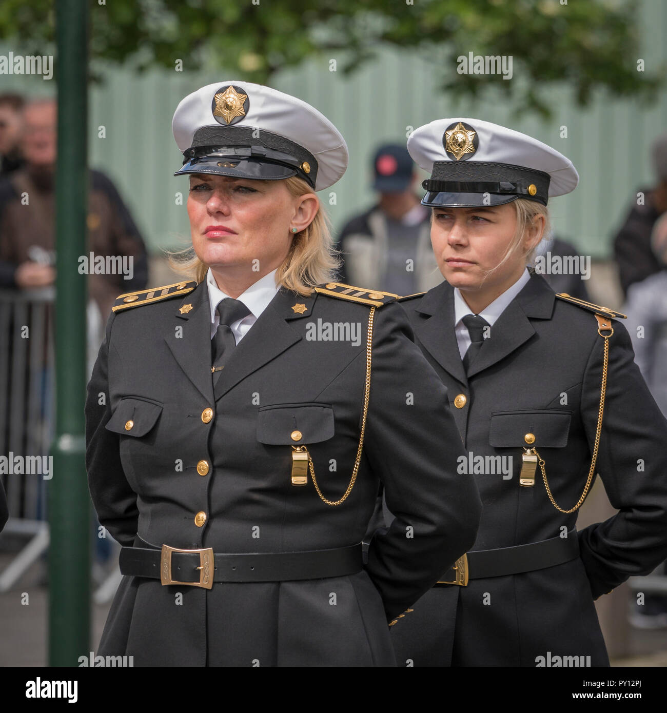 Female Icelandic police dressed in formal uniforms, during Iceland's Independence Day, Reykjavik, Iceland - Stock Image