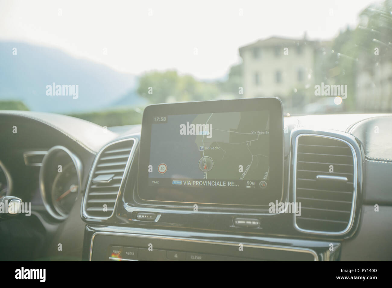 Car navigation display on the car panel Stock Photo