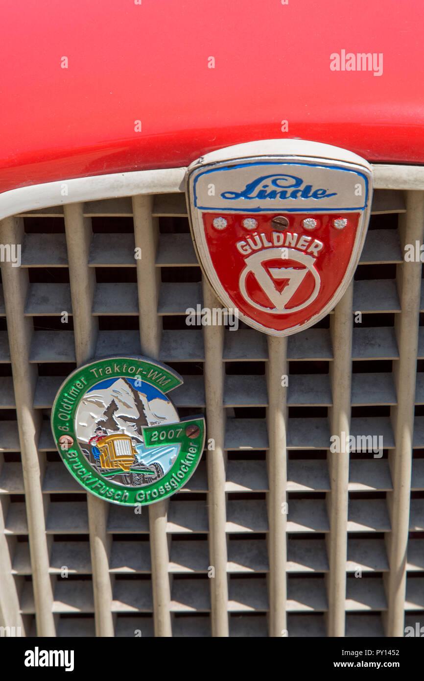 Close-up of German red oldtimer diesel tractor Linde Güldner - Stock Image