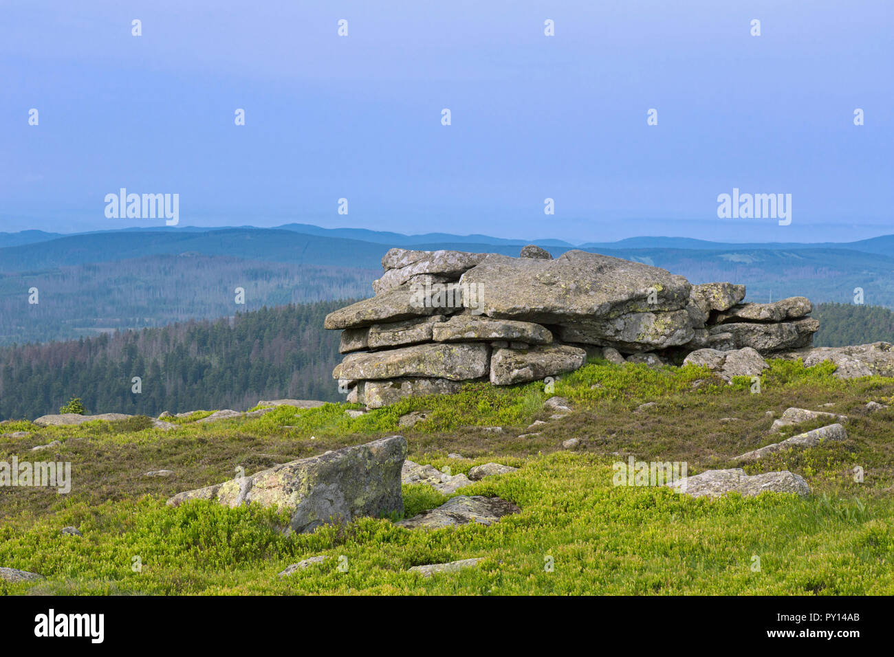Hexenaltar / Witches' Altar, rock formation on the mountain Brocken, Harz National Park, Saxony-Anhalt, Germany - Stock Image