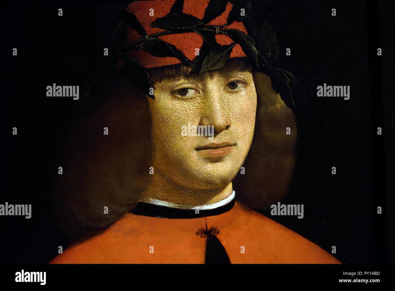 Portrait of the Poet Gerolamo Casio 1490 - 1500 by Giovanni Antonio Boltraffio 15th Century, Italy, Italian. - Stock Image