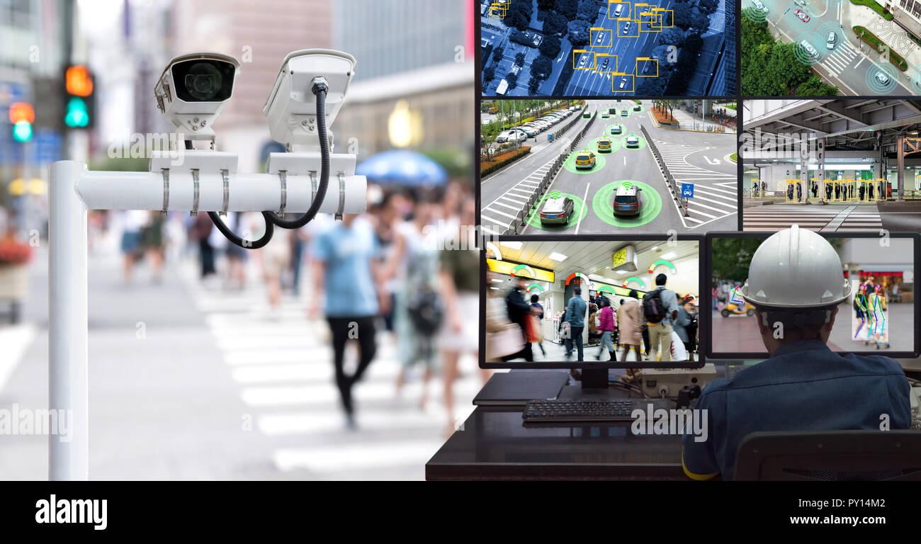 Machine Learning analytics identify person technology in smart city , Artificial intelligence ,Big data , iot concept. Engineer monitoring cctv , secu - Stock Image