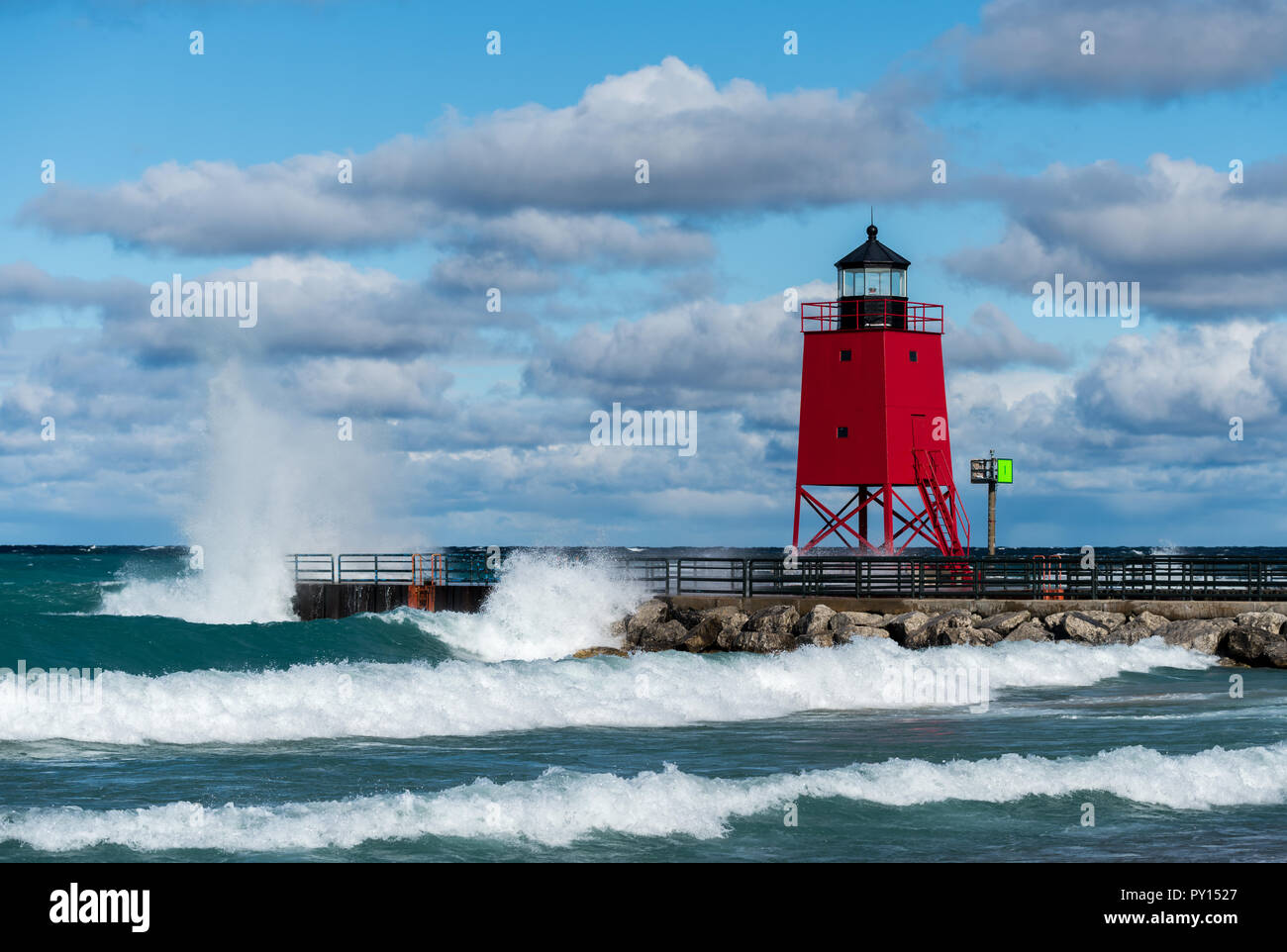 Charlevoix South Pier lighthouse in Charlevoix, Michigan, USA. - Stock Image