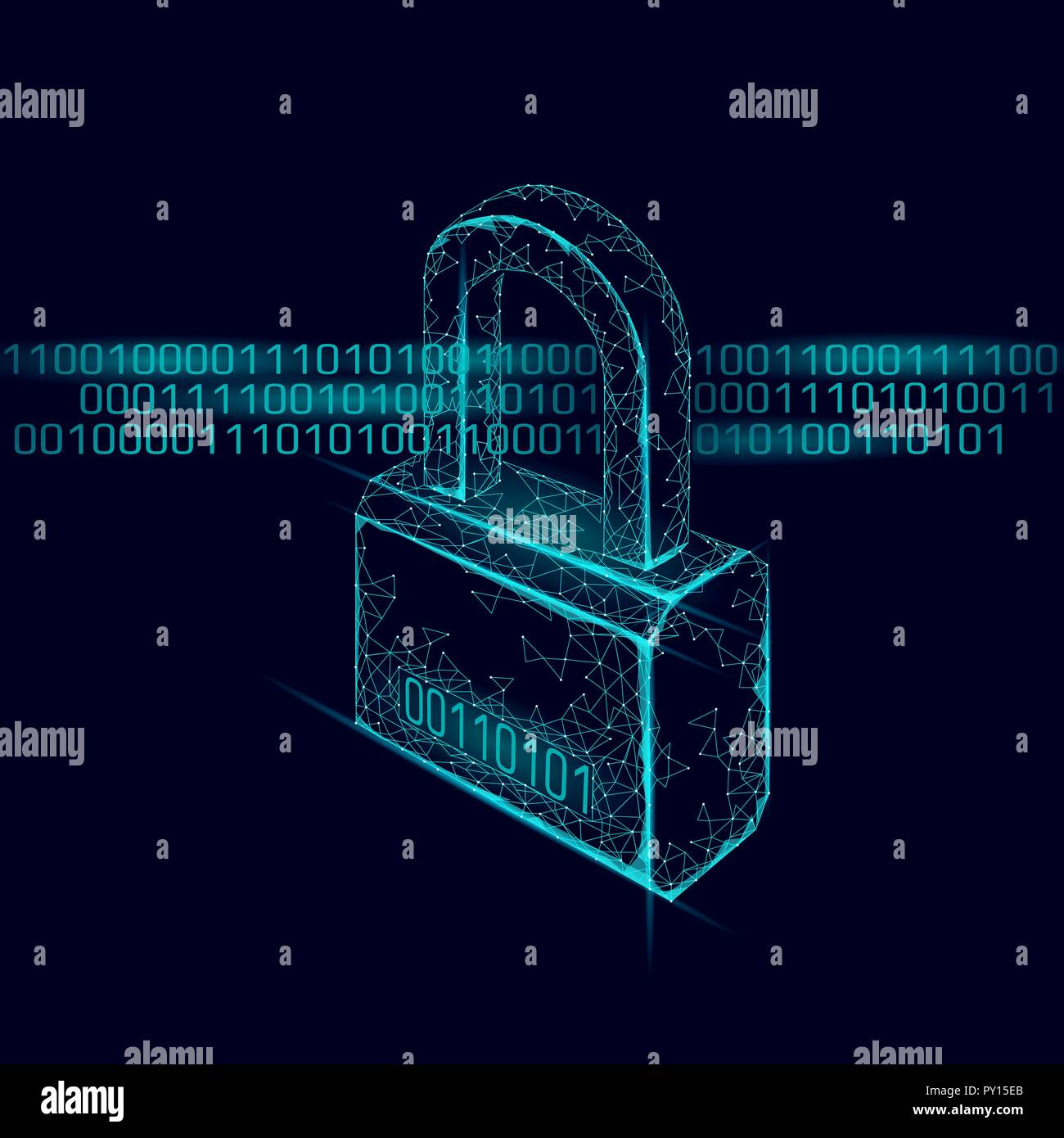 Cyber safety padlock on data mass. Internet security lock information privacy low poly polygonal future innovation technology network business concept blue vector illustration art - Stock Image