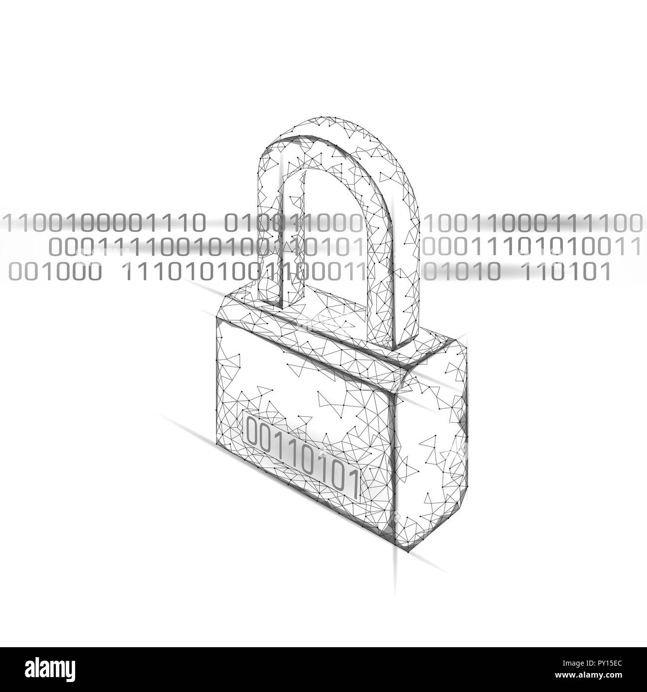 Cyber safety padlock on data mass. Internet security lock information privacy low poly polygonal future innovation technology network business concept vector illustration art - Stock Image