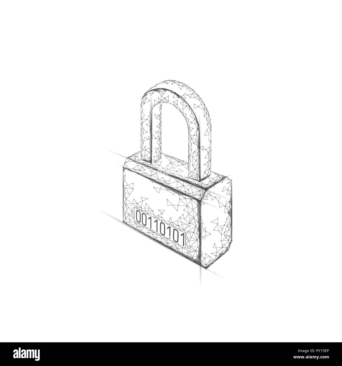 Cyber safety padlock on data mass. Internet security lock information privacy low poly polygonal future innovation technology network concept vector illustration art Stock Vector