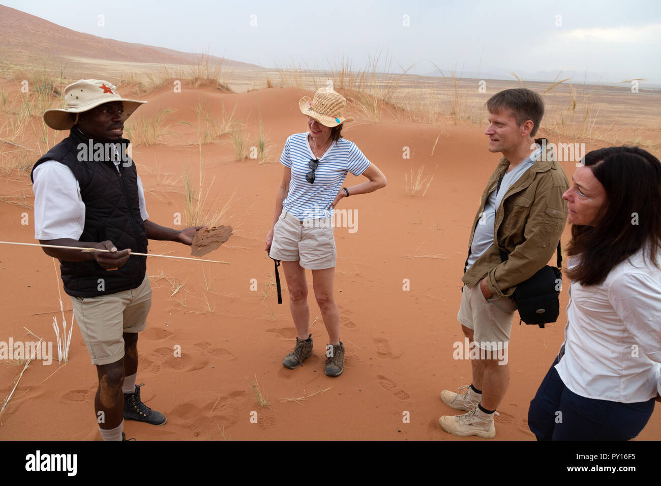 Namibia tourism - tourists and their tour guide on a guided tour, Namib Desert, Namib Naukluft National Park, Sossusvlei, Namibia Africa - Stock Image