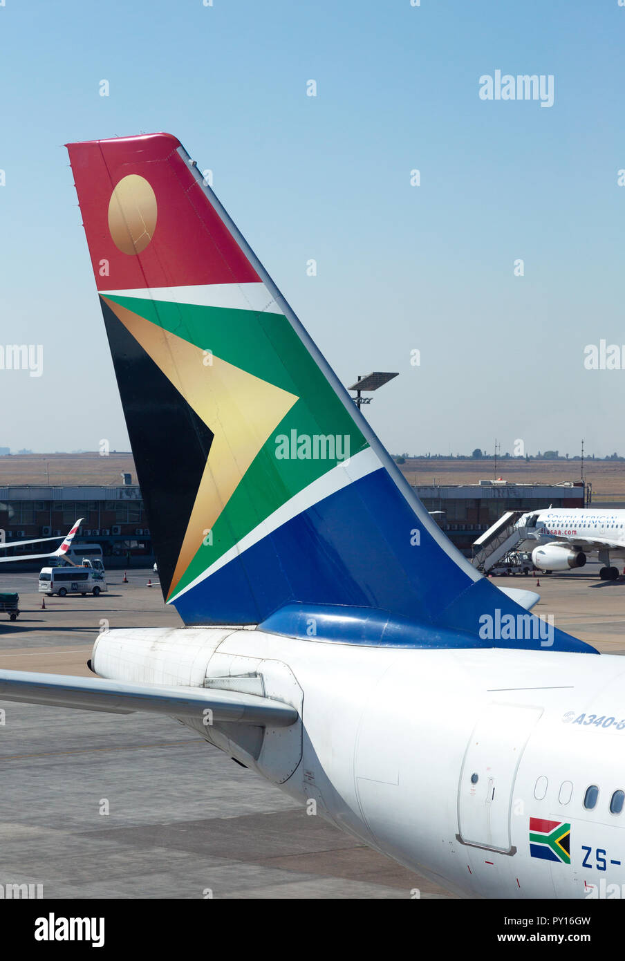 Tailfin of an Air Namibia plane on the ground, Windhoek airport, Namibia Africa - Stock Image