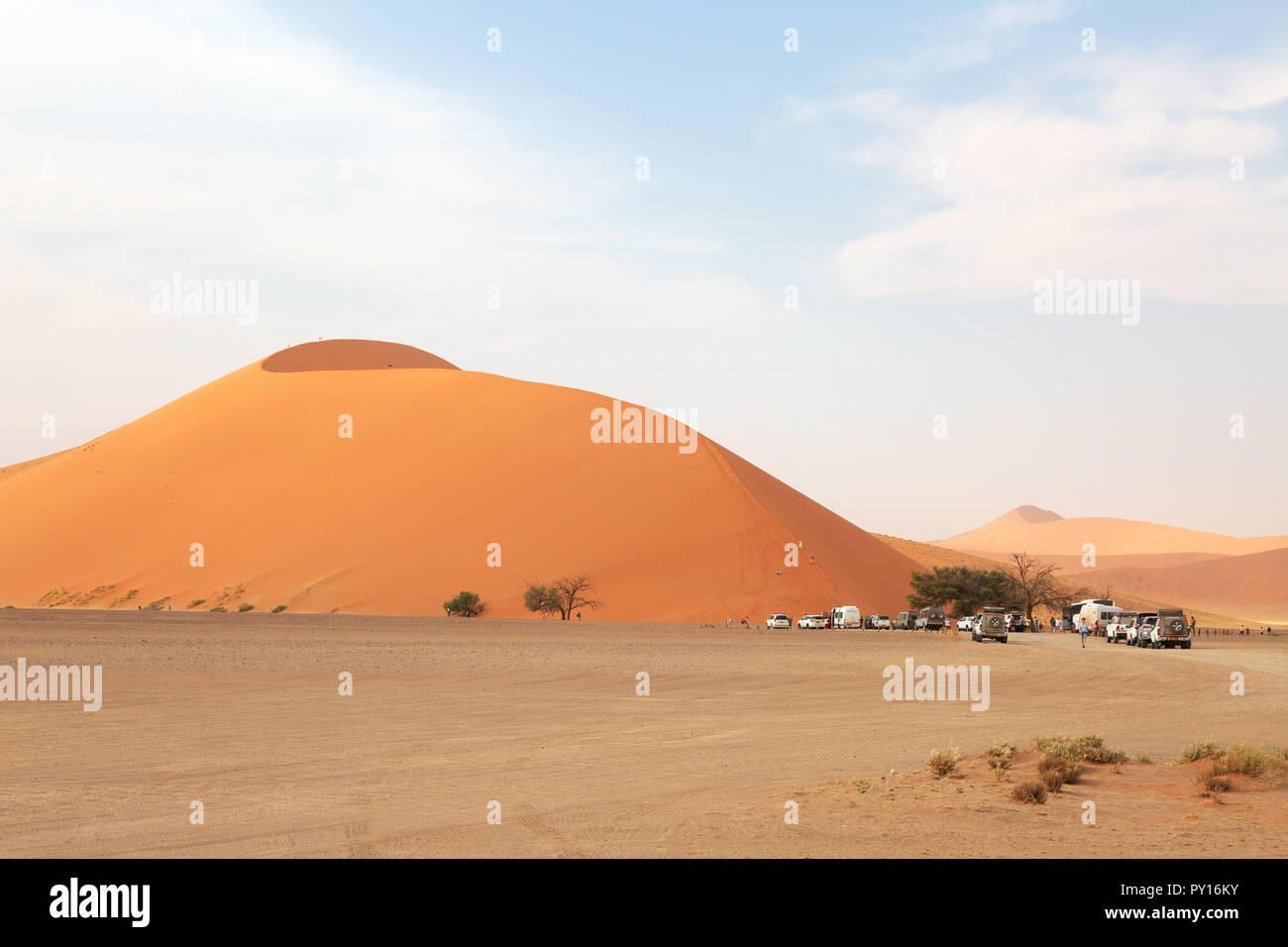 Dune 45 a well known sand dune in the Namib Desert, Sossusvlei, Namibia Africa Stock Photo