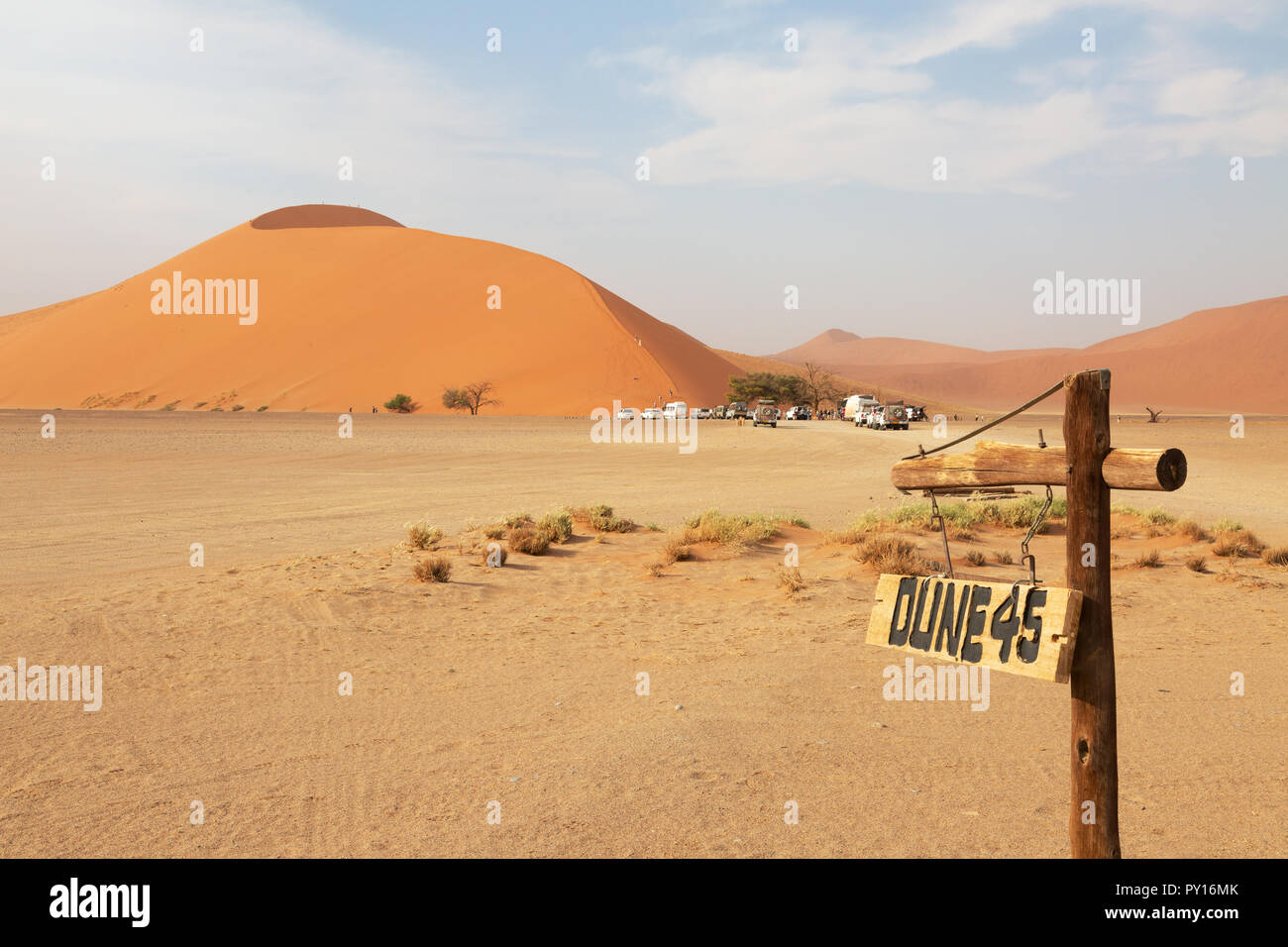 Dune 45 a well known sand dune in the Namib Desert, Sossusvlei, Namibia Africa Stock Photo