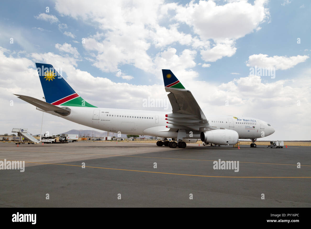 An Air Namibia plane on the ground at Hosea Kutako International Airport, Windhoek, Namibia Africa - Stock Image