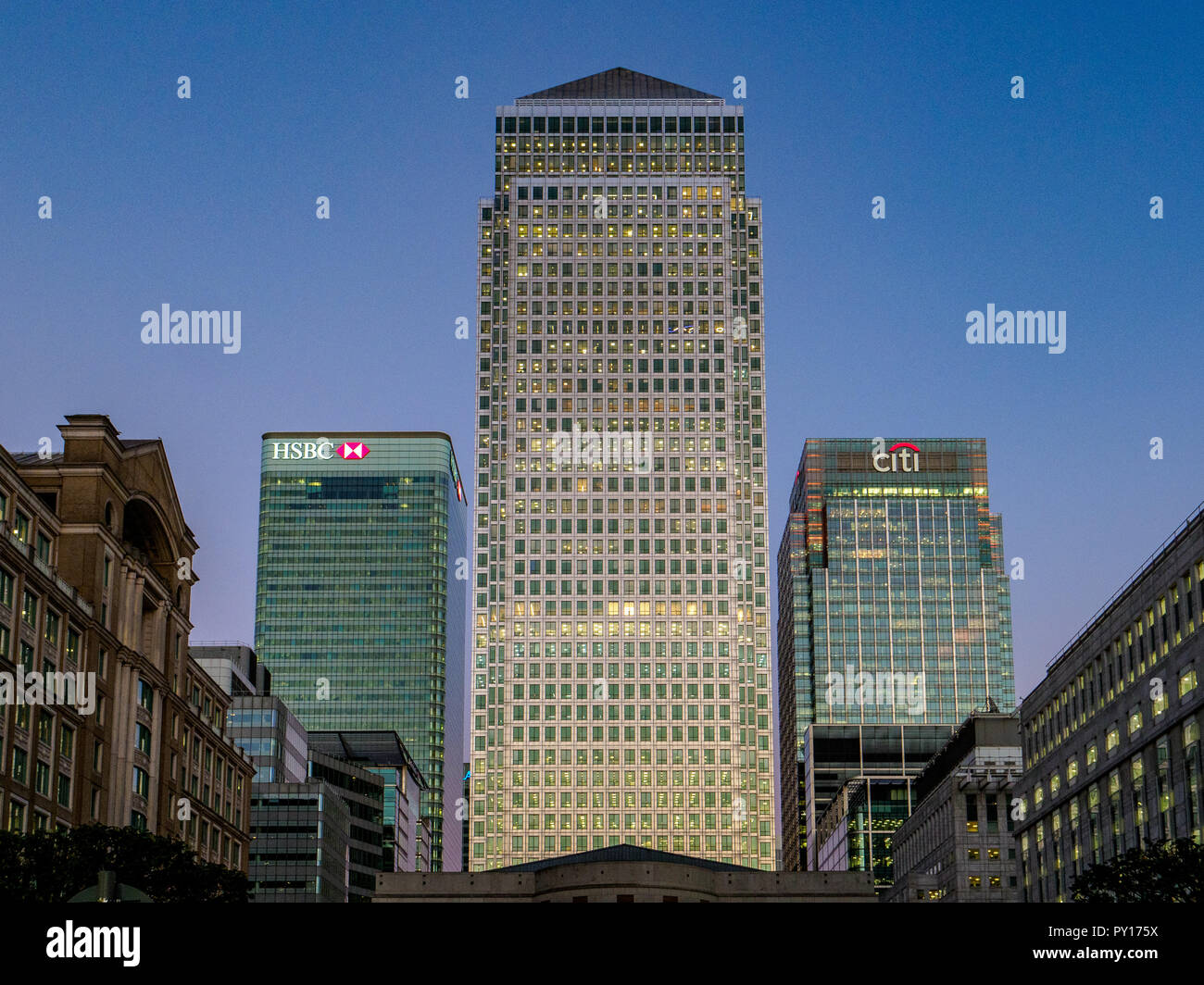 Canary Wharf London - Canary Wharf development in London's Docklands - Stock Image