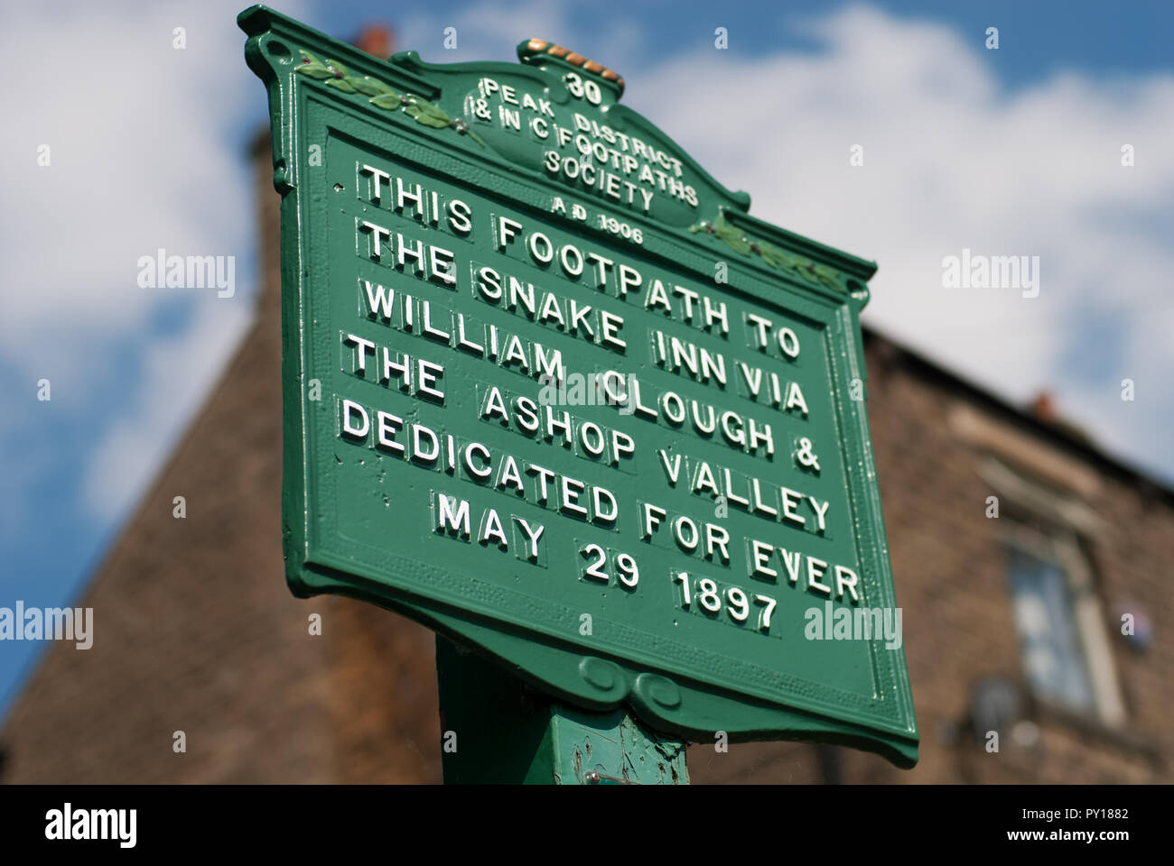 Footpath sign in Hayfield, Derbyshire - Stock Image