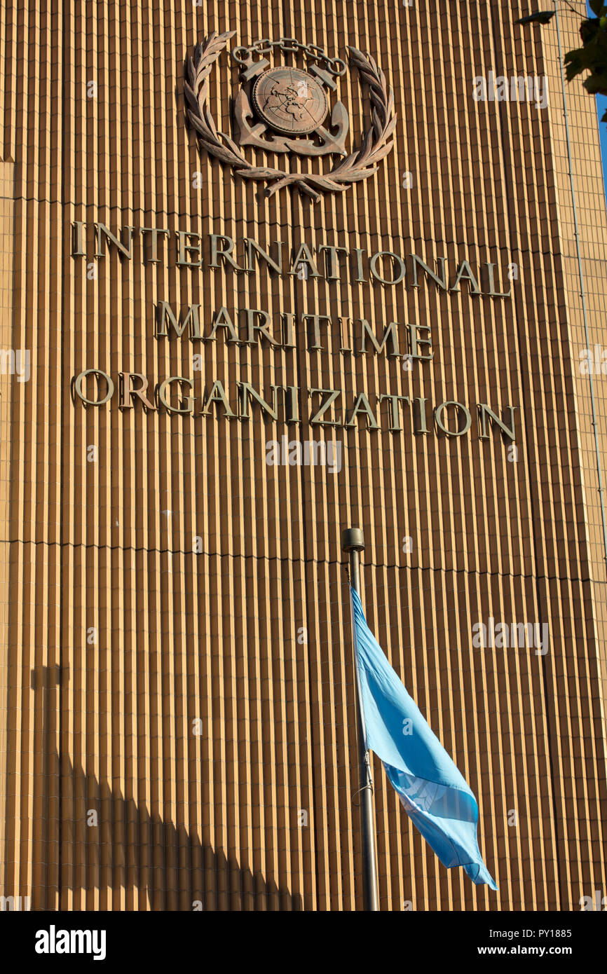 The International Maritime Organisation (IMO) is a UN maritime organisation, with headquarters on Albert Embankment, River Thames, Lambeth, London, UK - Stock Image