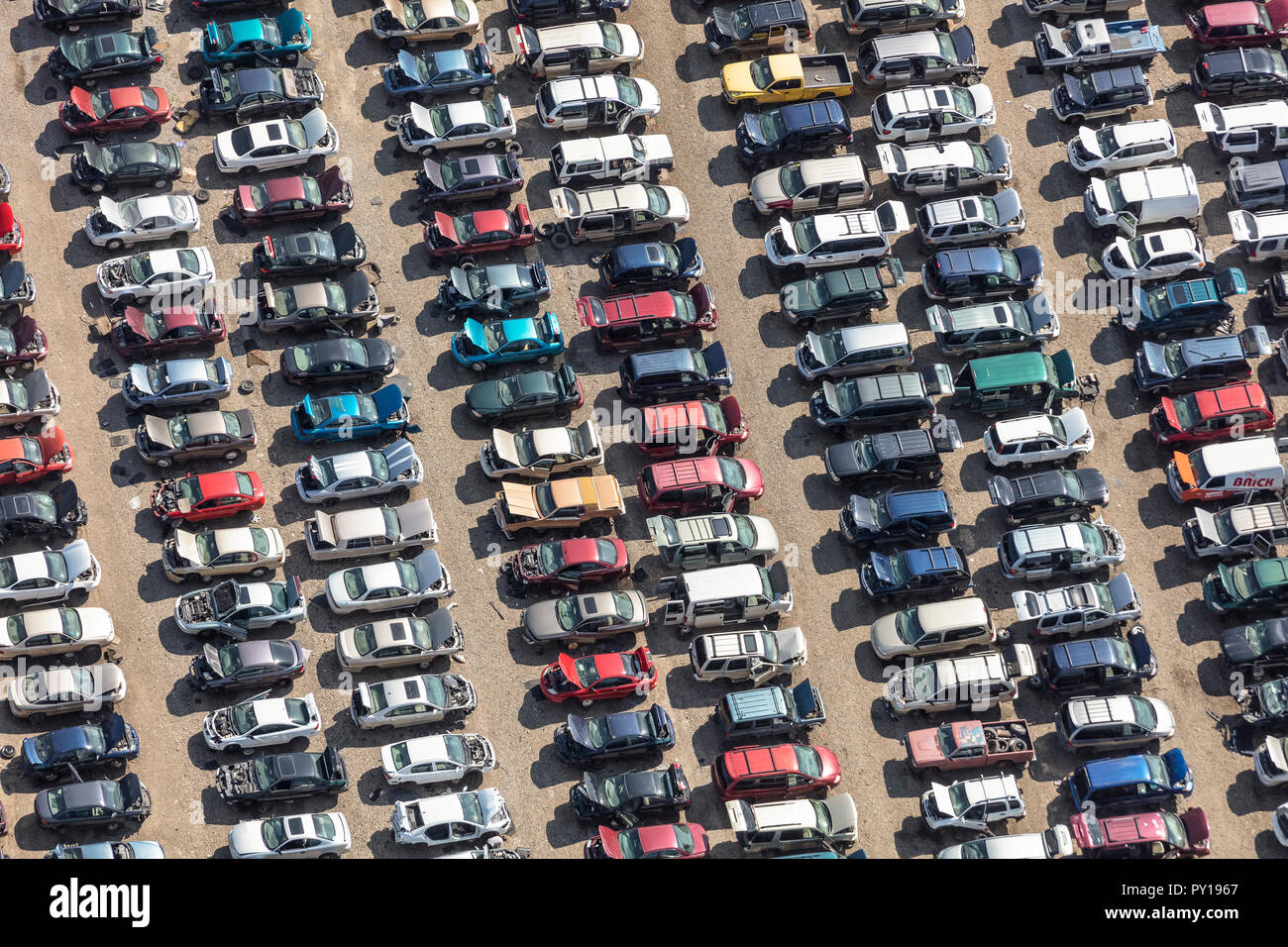 Aerial view of automobiles at auto parts recyclers - Stock Image