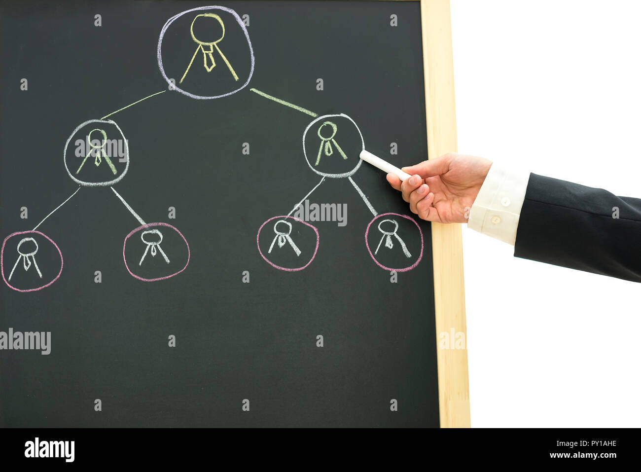 Closeup of business manager scheduling and appointing work to his employees. - Stock Image