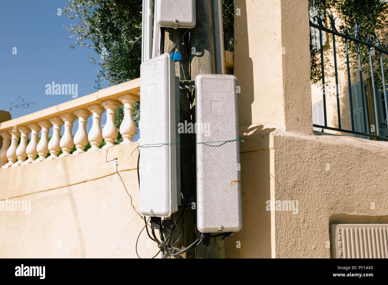 Telephone Antenna Repeater in southern France in the city of Nice - Stock Image