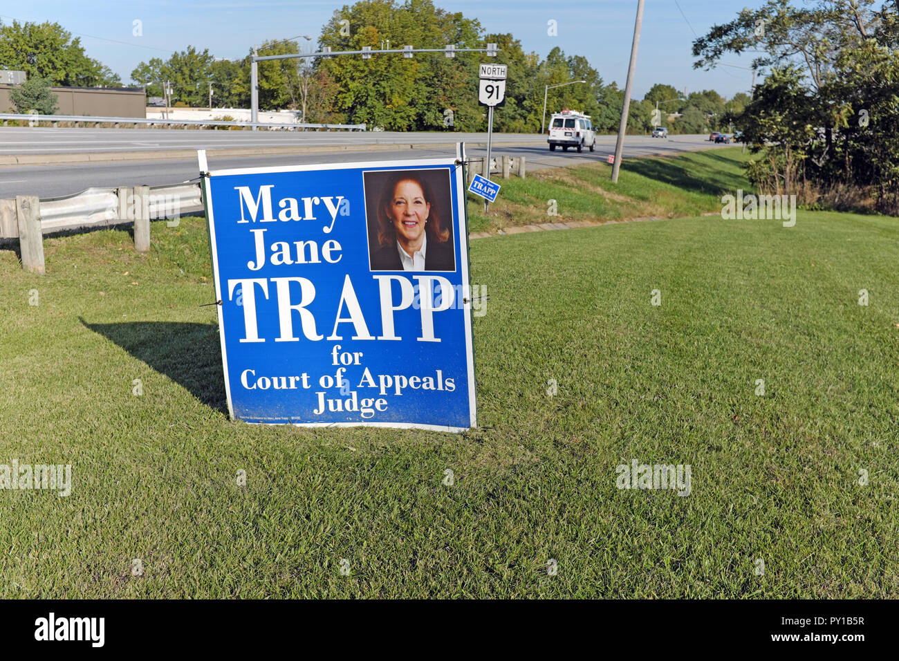 An election sign for Court of Appeals Judge in the Ohio 11th District is a common site in Lake County Ohio during the midterm 2018 elections. - Stock Image